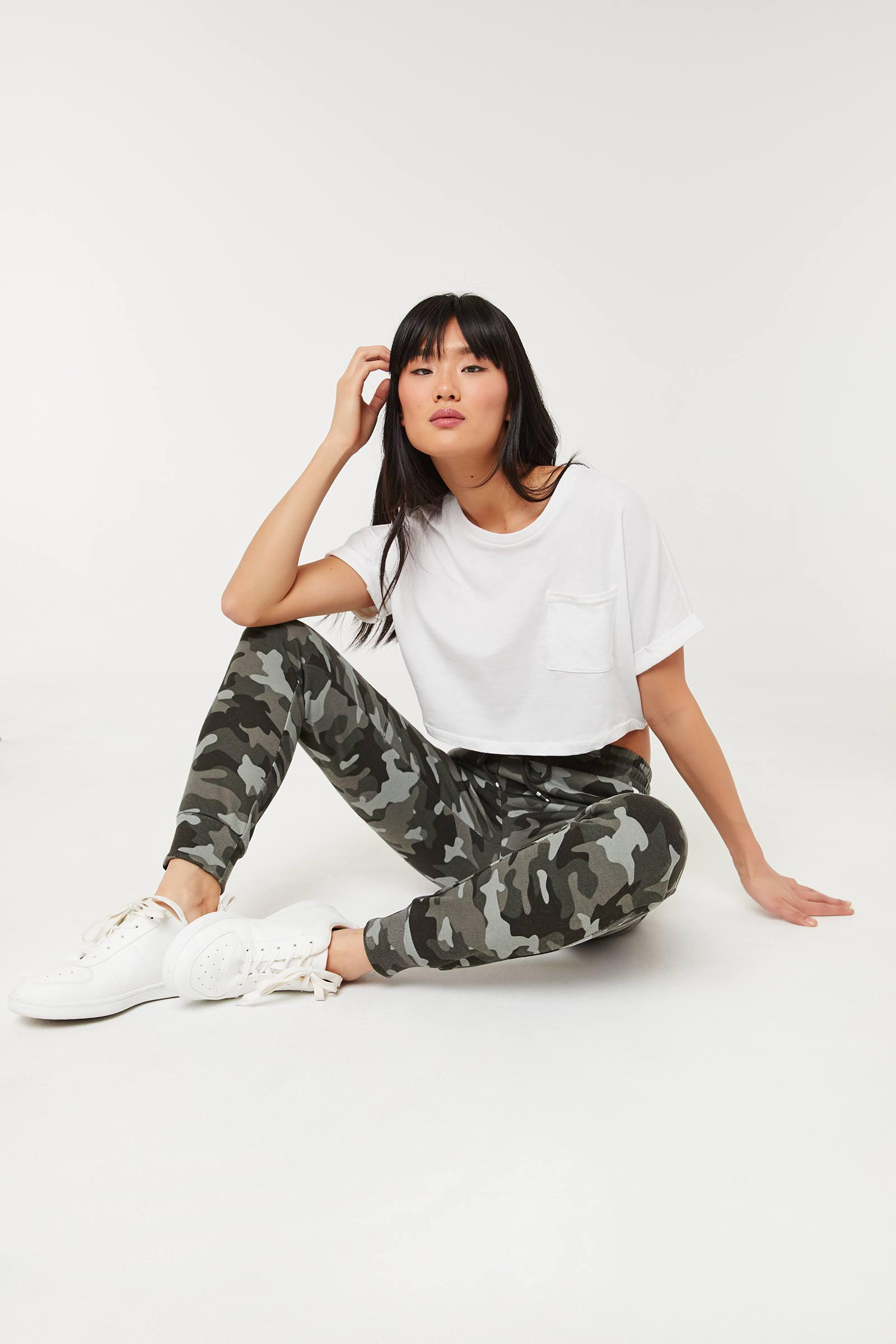 Camo Joggers with Contrasting Stripes