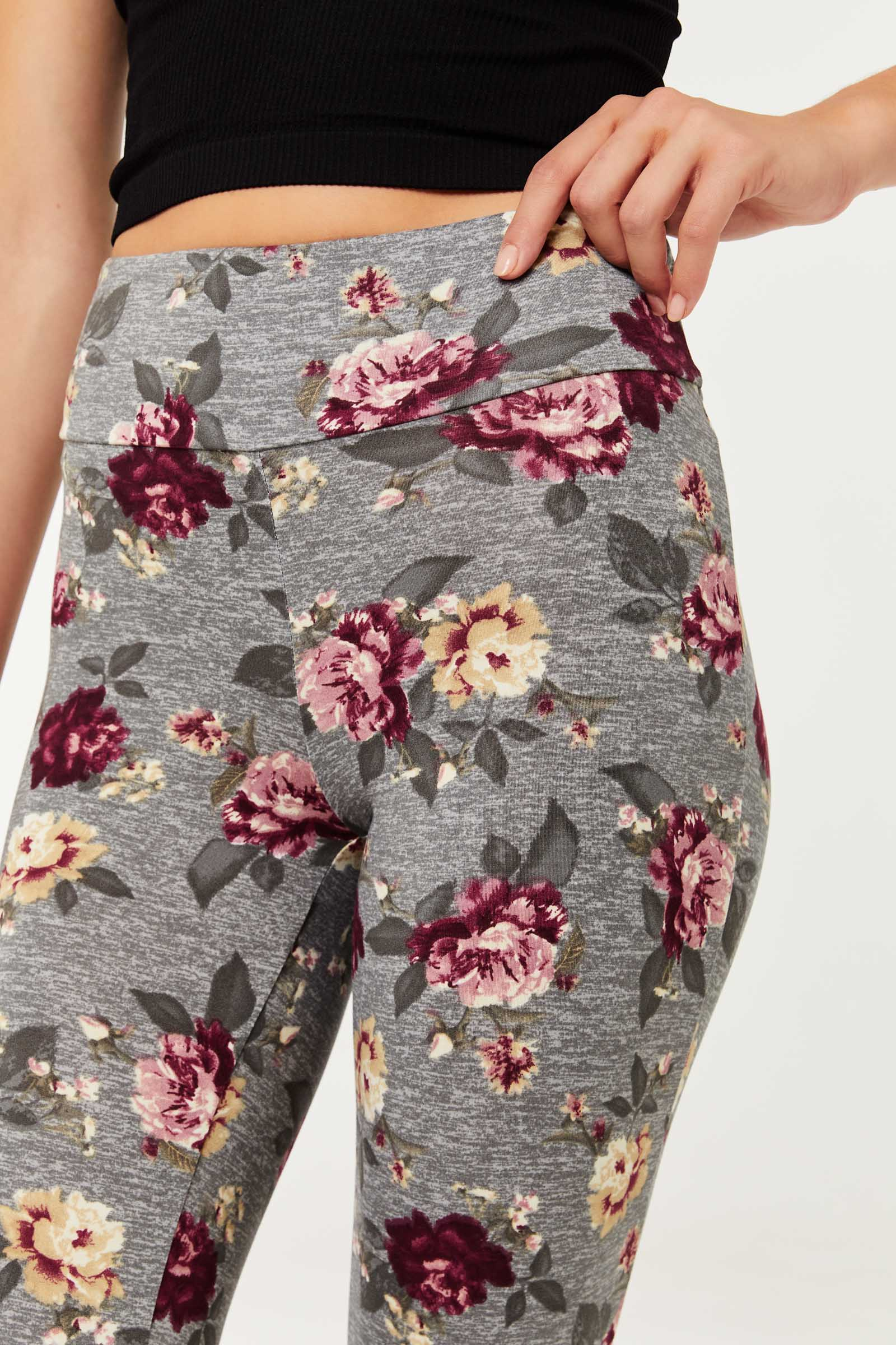 Floral Leggings with Back Crossover