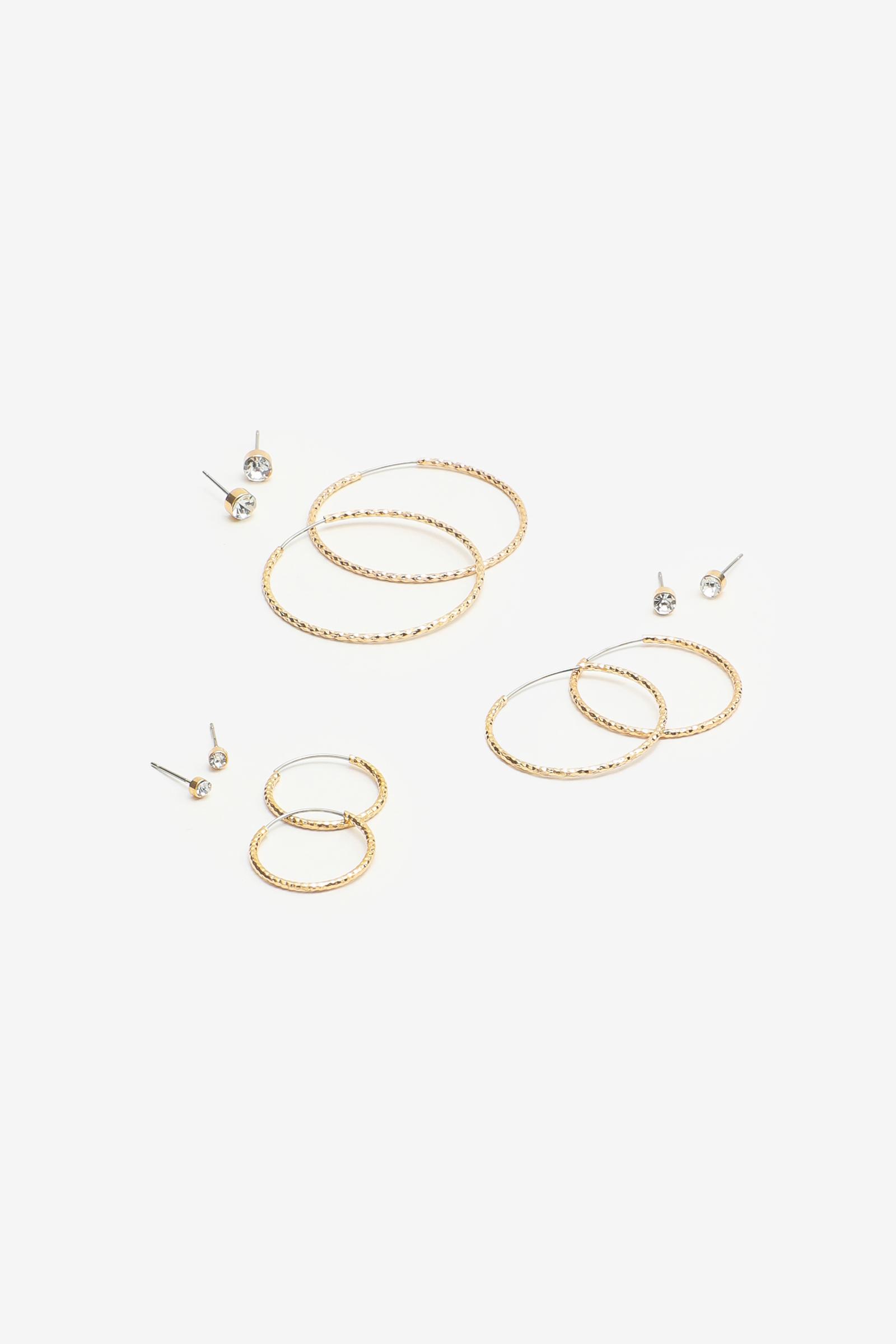 Pack of Hoop and Stud Earrings