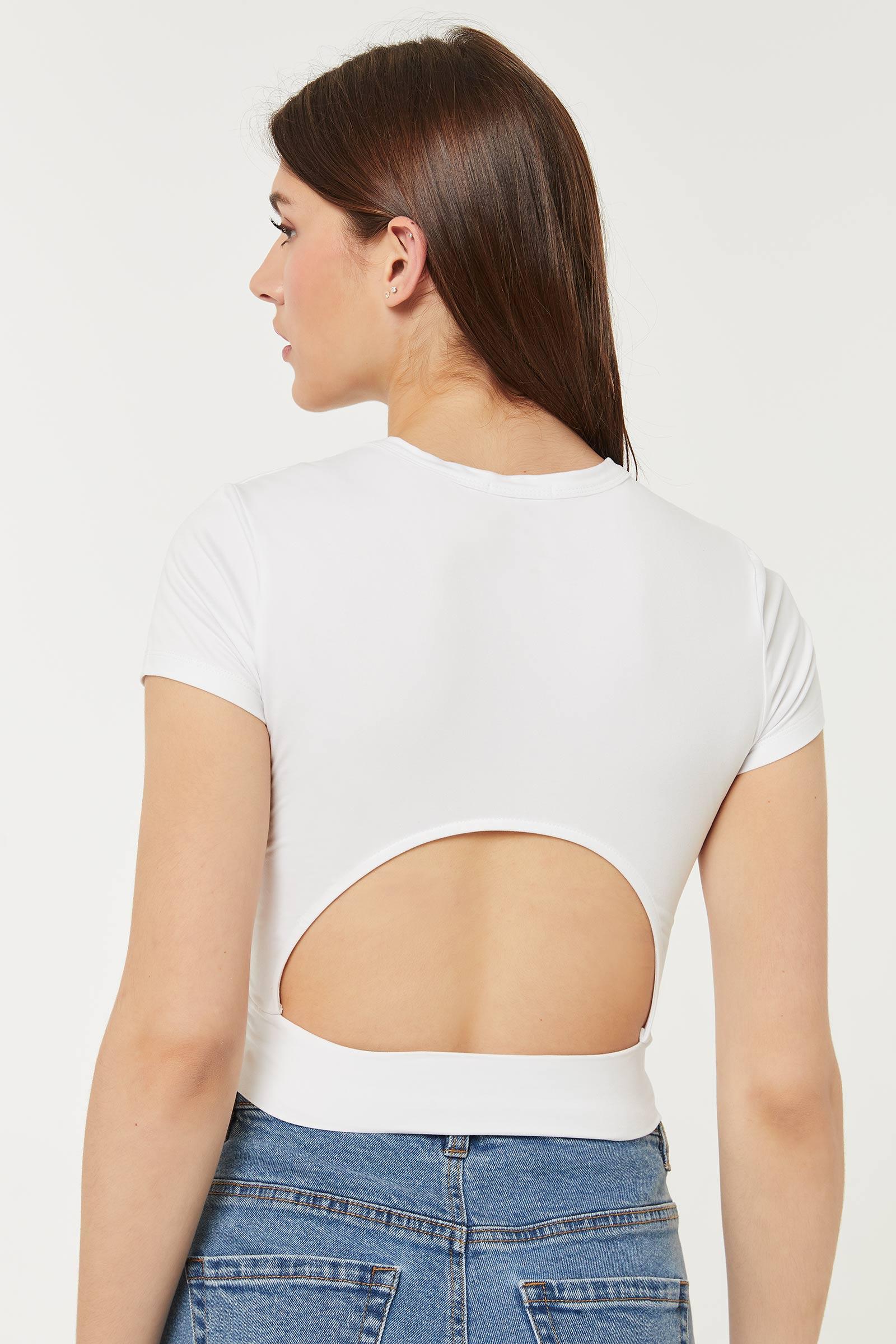 T-shirt écourté avec ouverture au dos