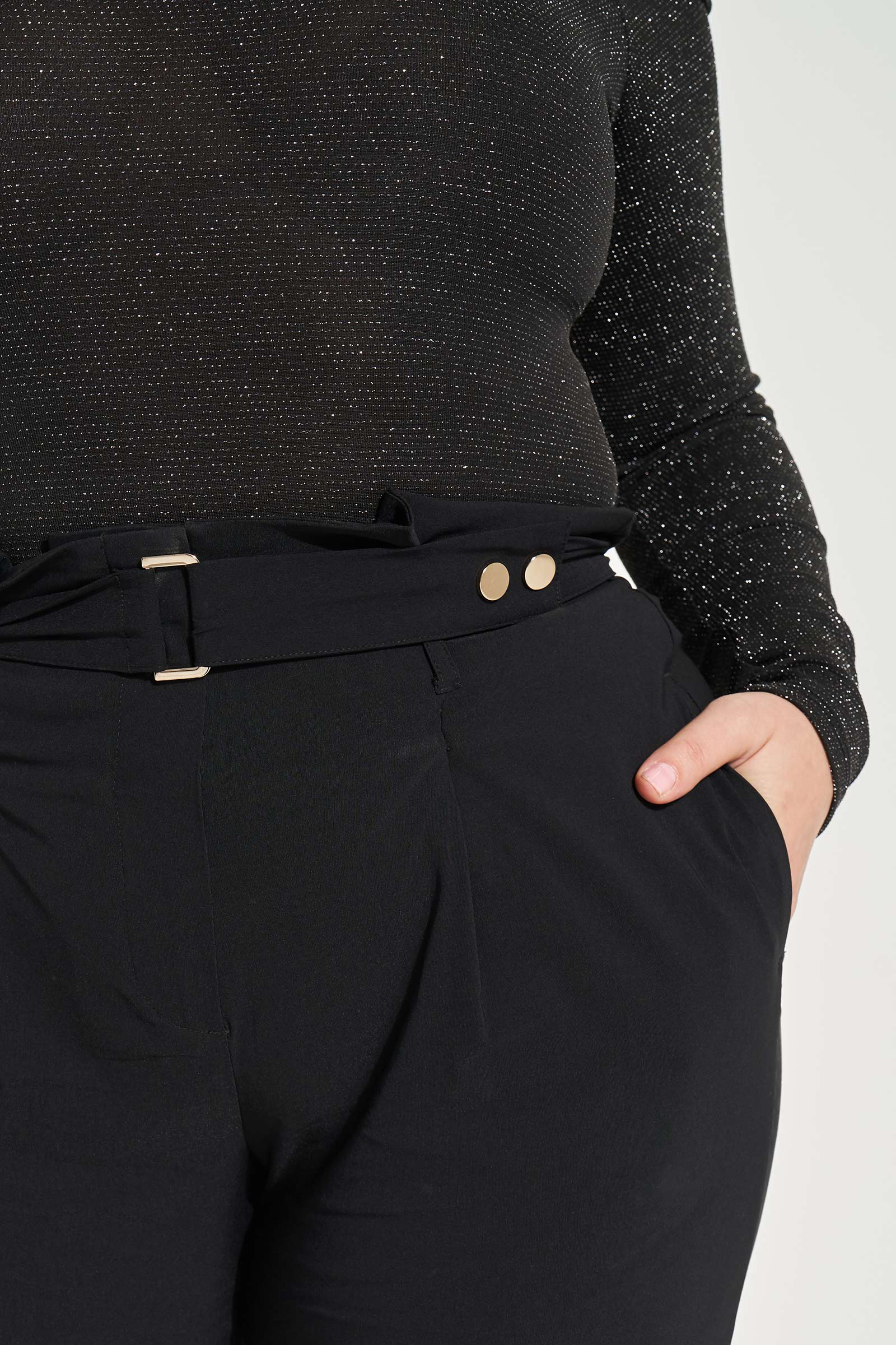 Plus Size Crop Leg Paper Bag Pants