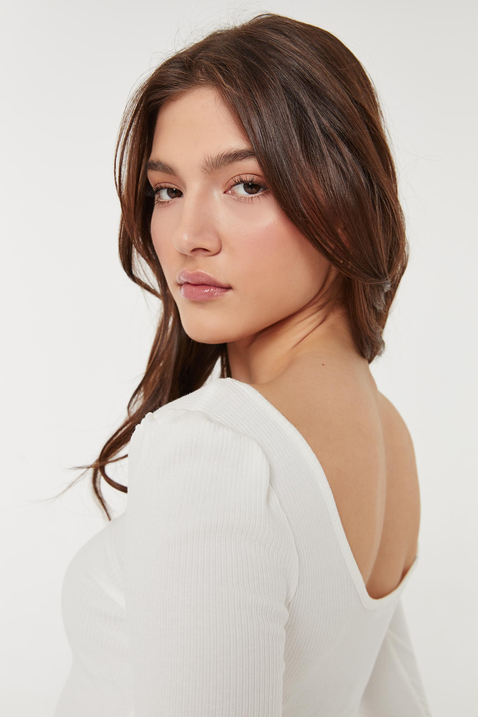 Ribbed Puff Sleeve Top