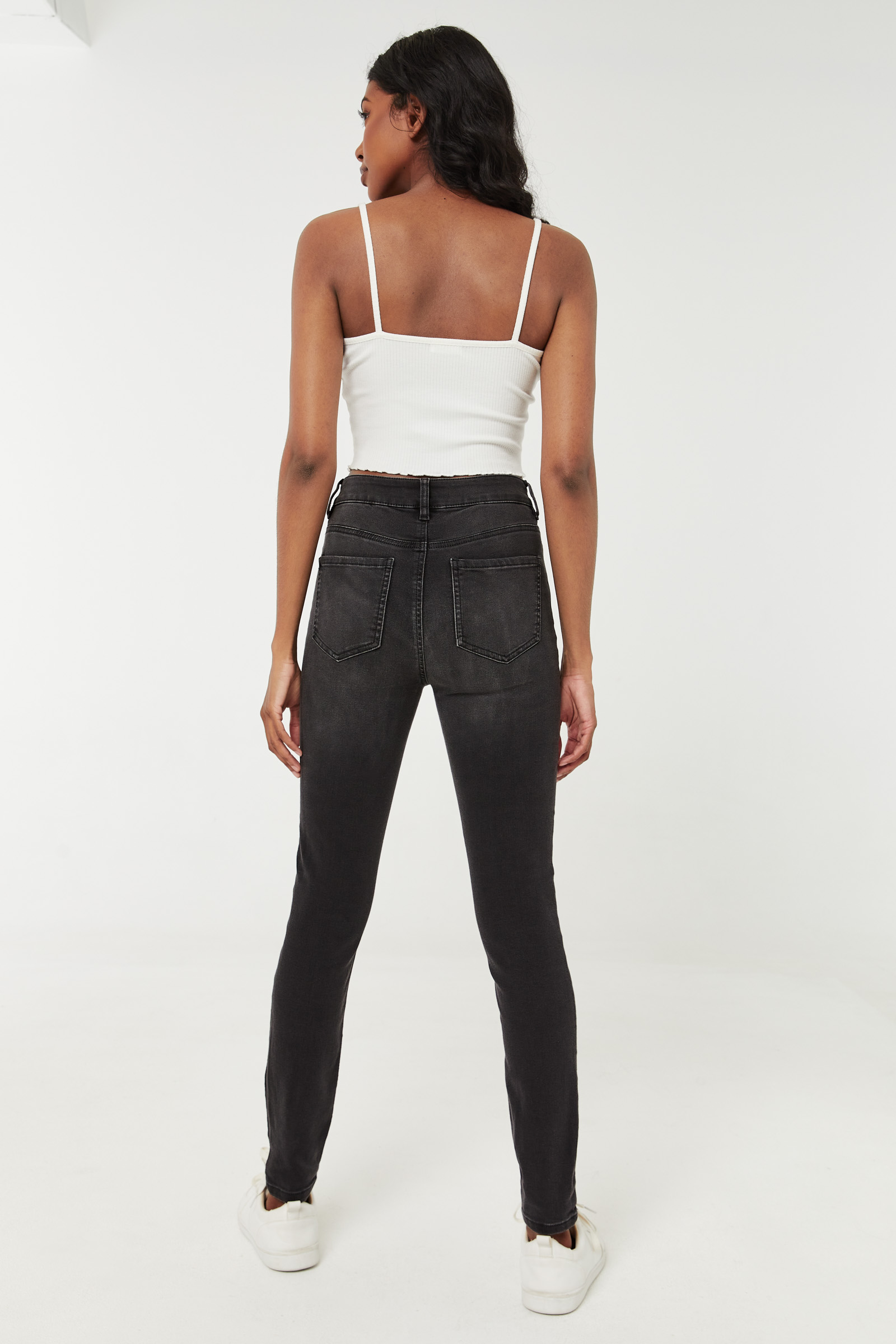Jegging taille haute à 4 boutons
