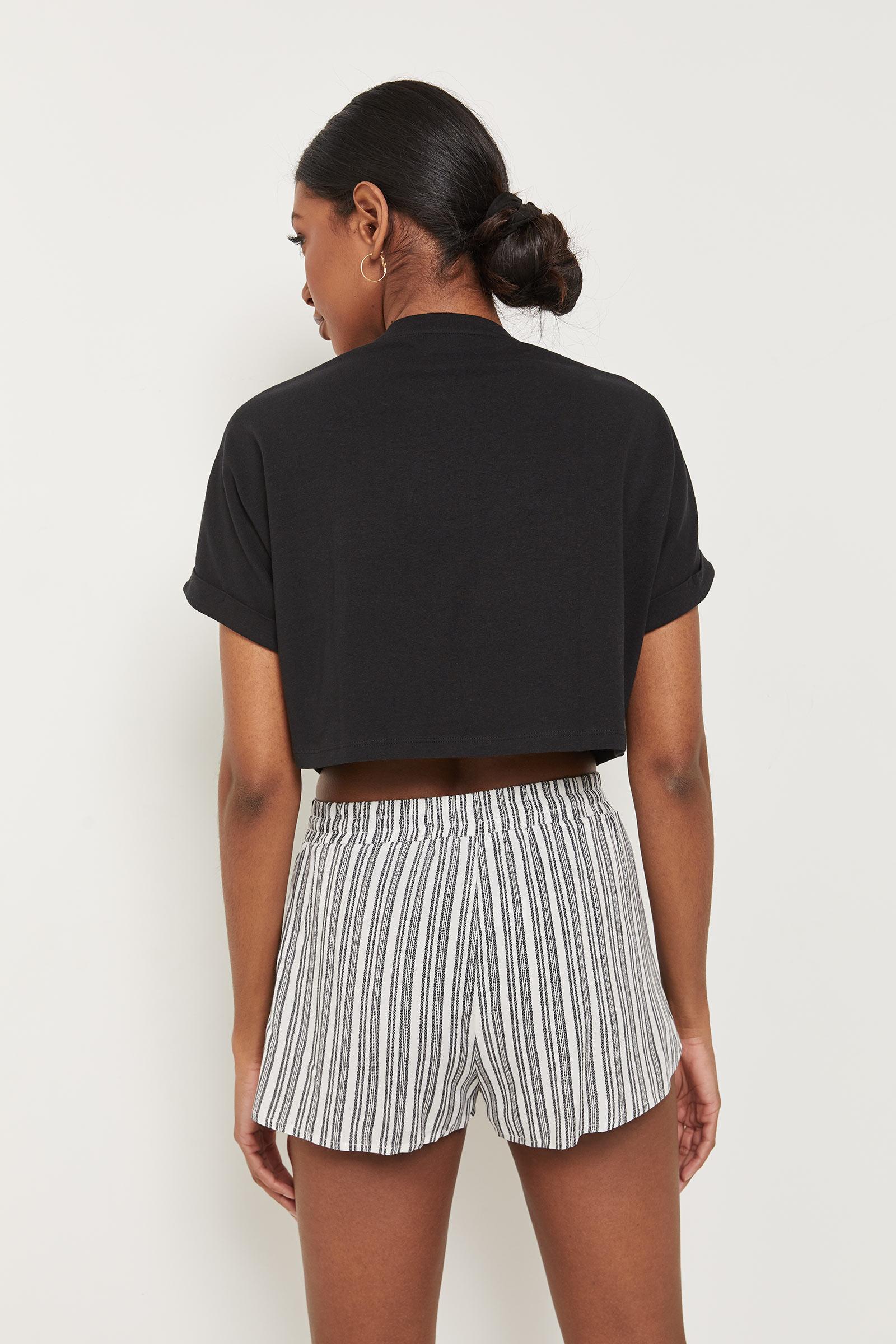 Basic Striped Rayon Shorts