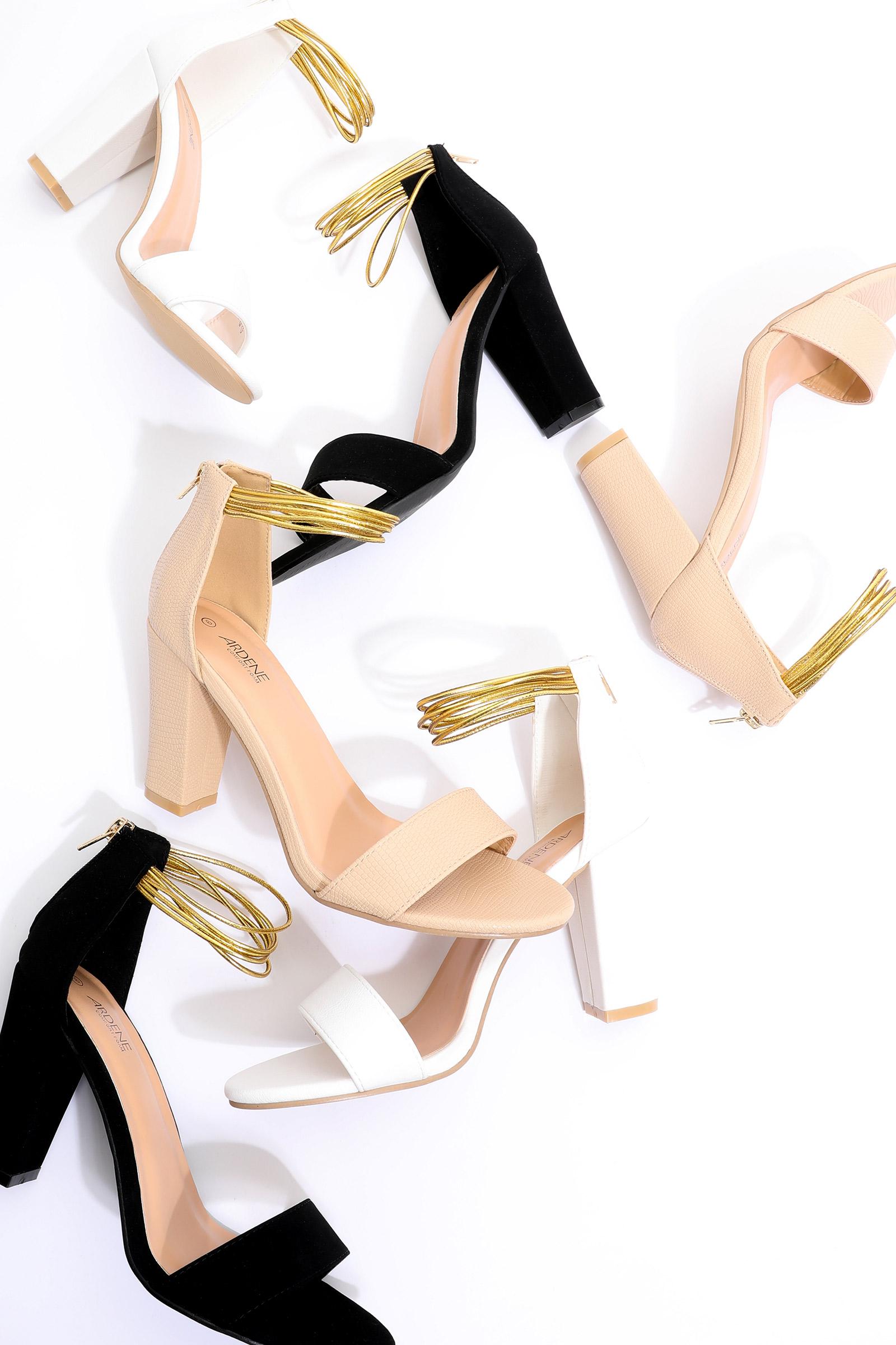 Faux Leather Block Heel Sandals