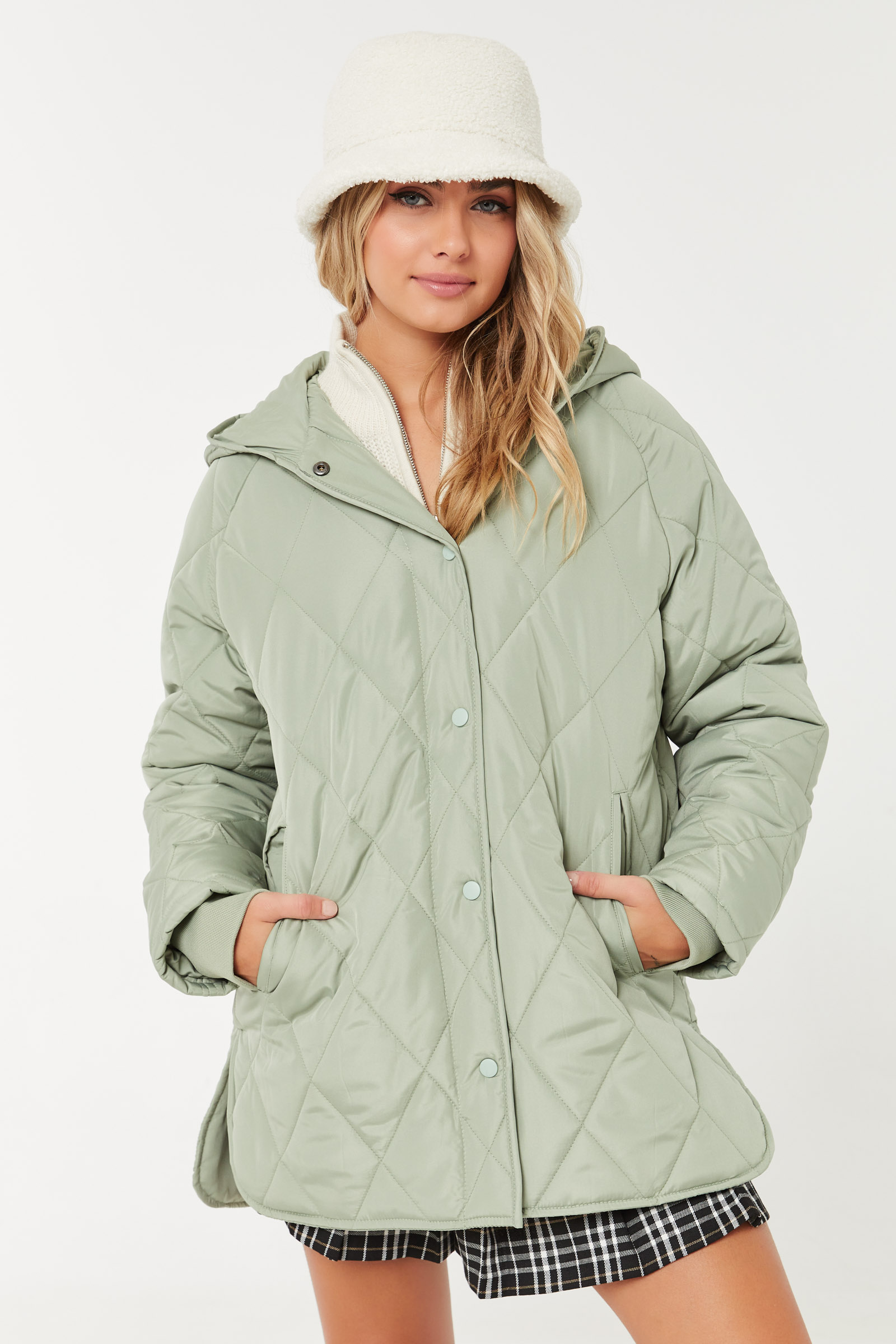 Oversized Quilted Hooded Jacket