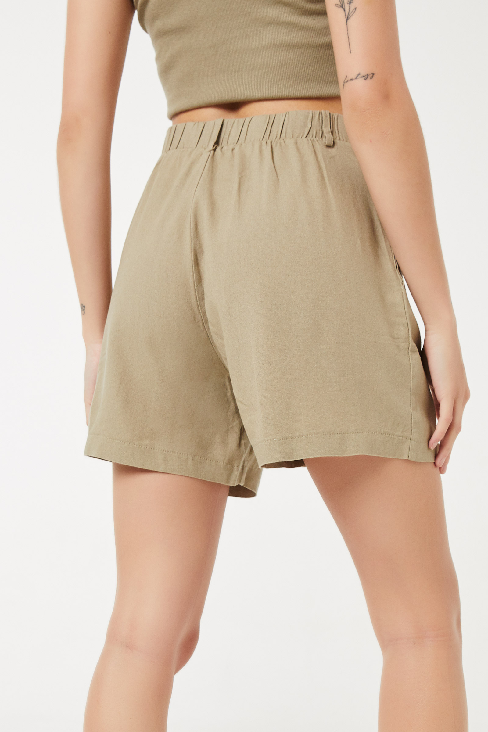 Flared Midi Linen Shorts