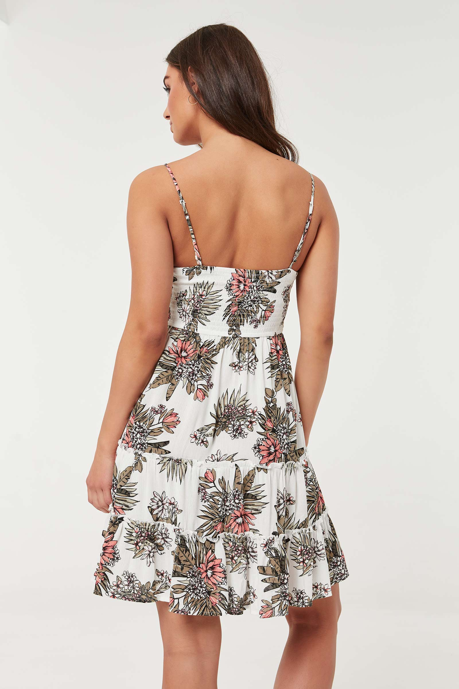 Tiered Floral Mini Tank Dress