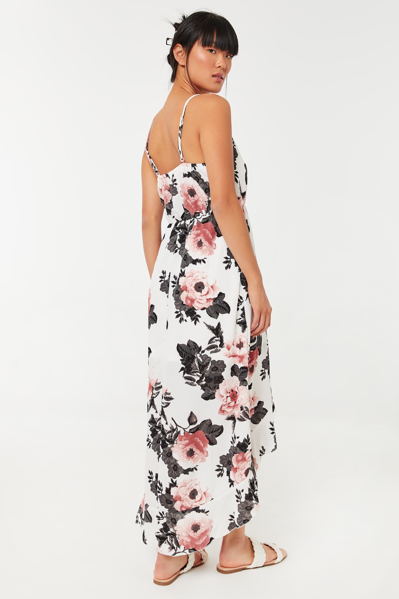 Floral High Low Maxi Dress
