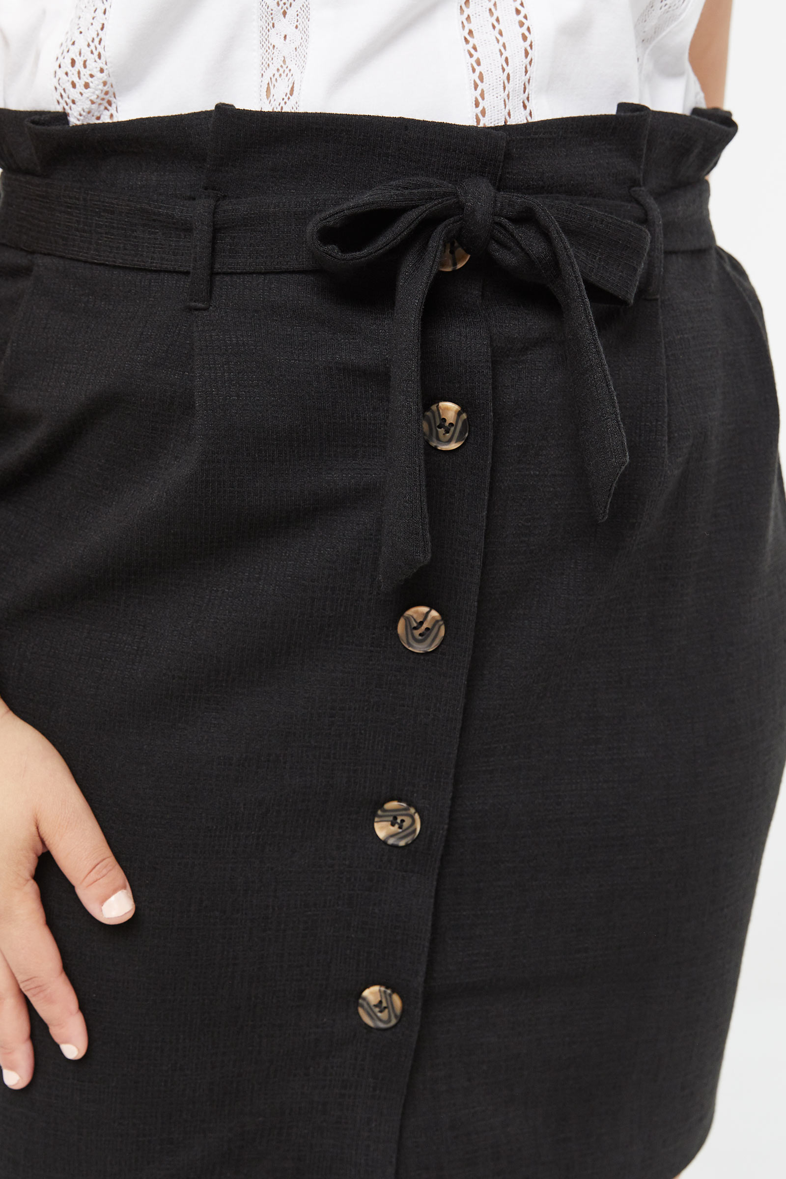 Plus Size Buttoned Paper Bag Skirt