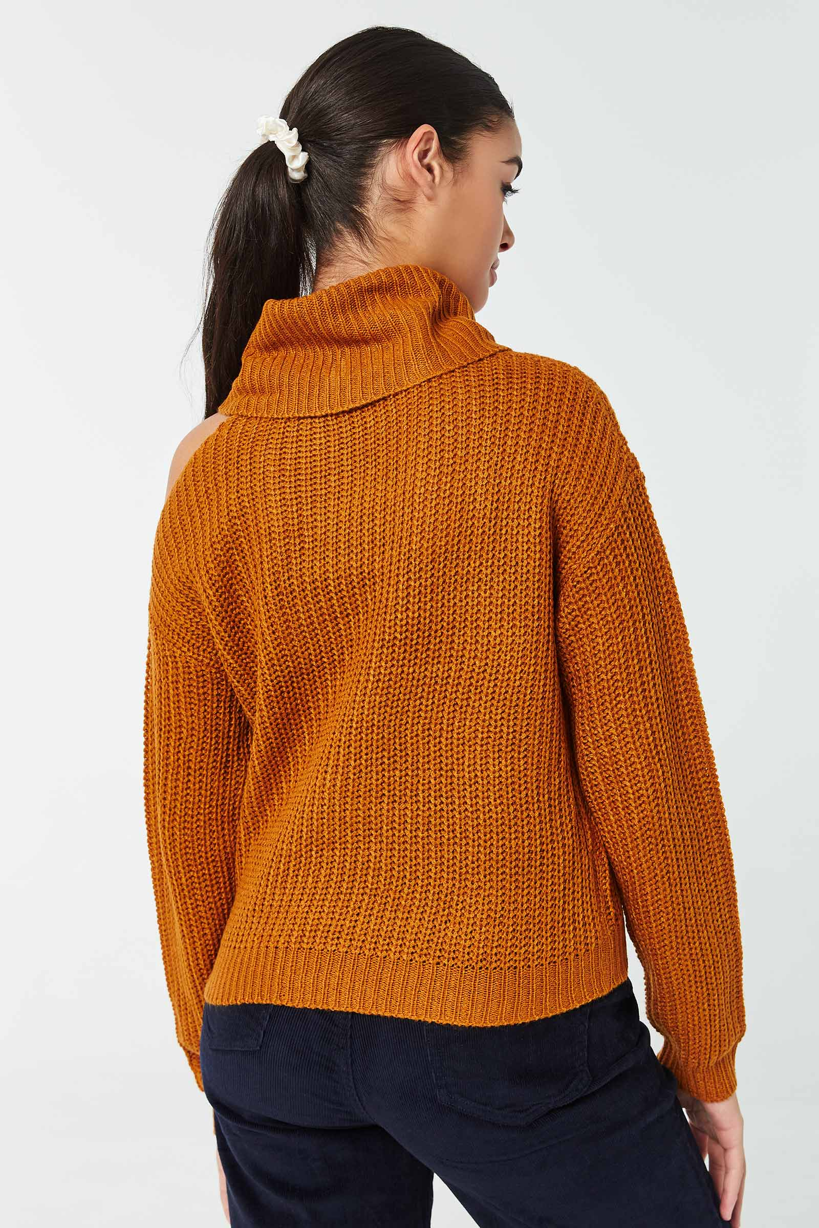 Cowl-Neck Cable Sweater