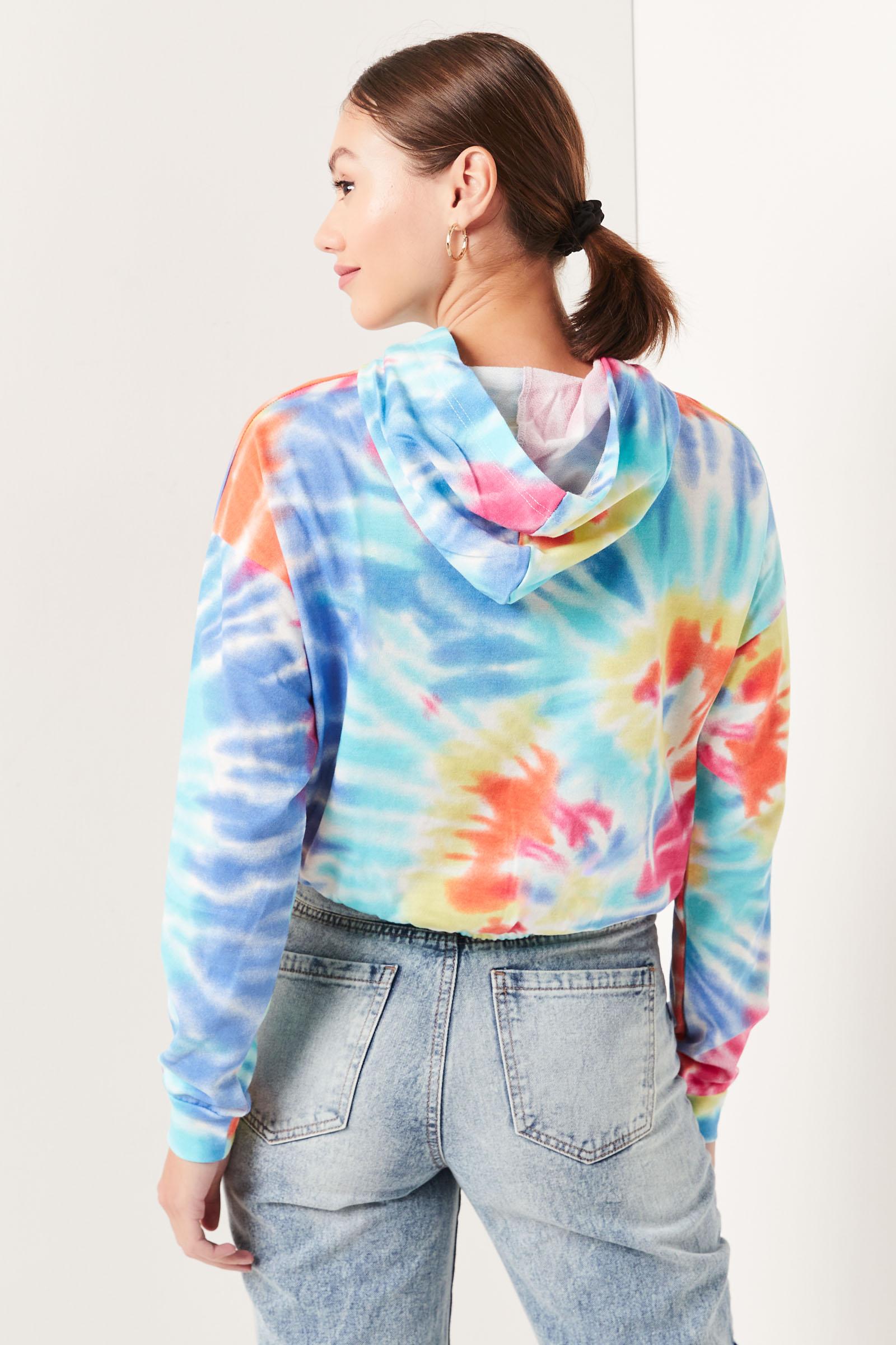 Rainbow Tie-Dye Cropped Hoodie