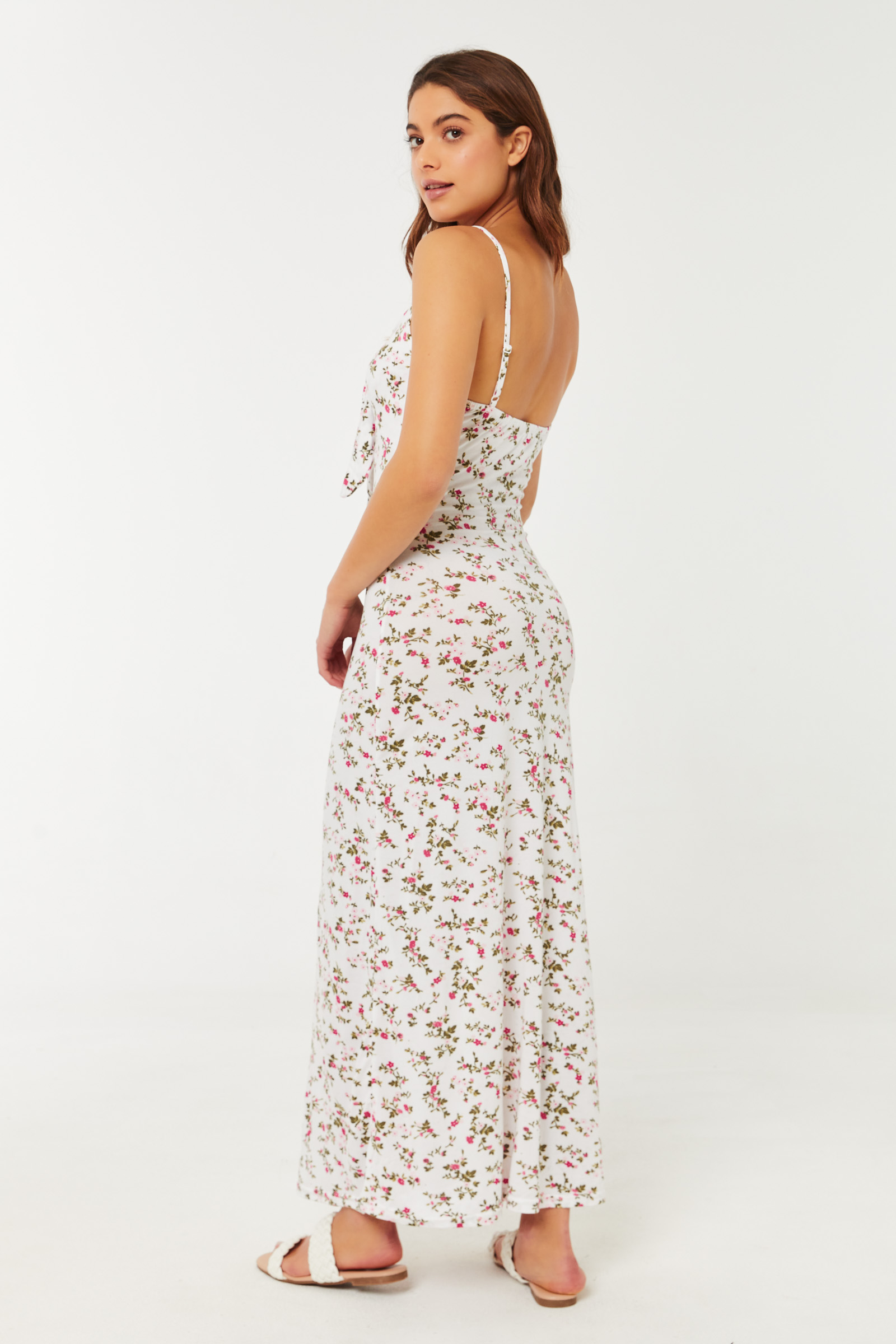 Ditsy Floral Maxi Dress with Front Knot