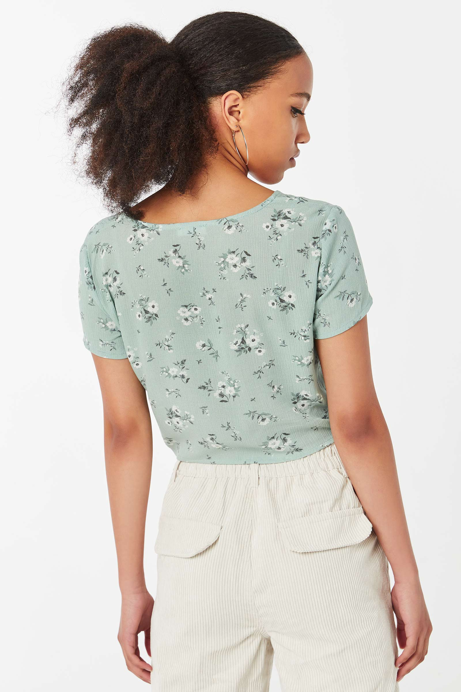 Floral Ruched Front Top