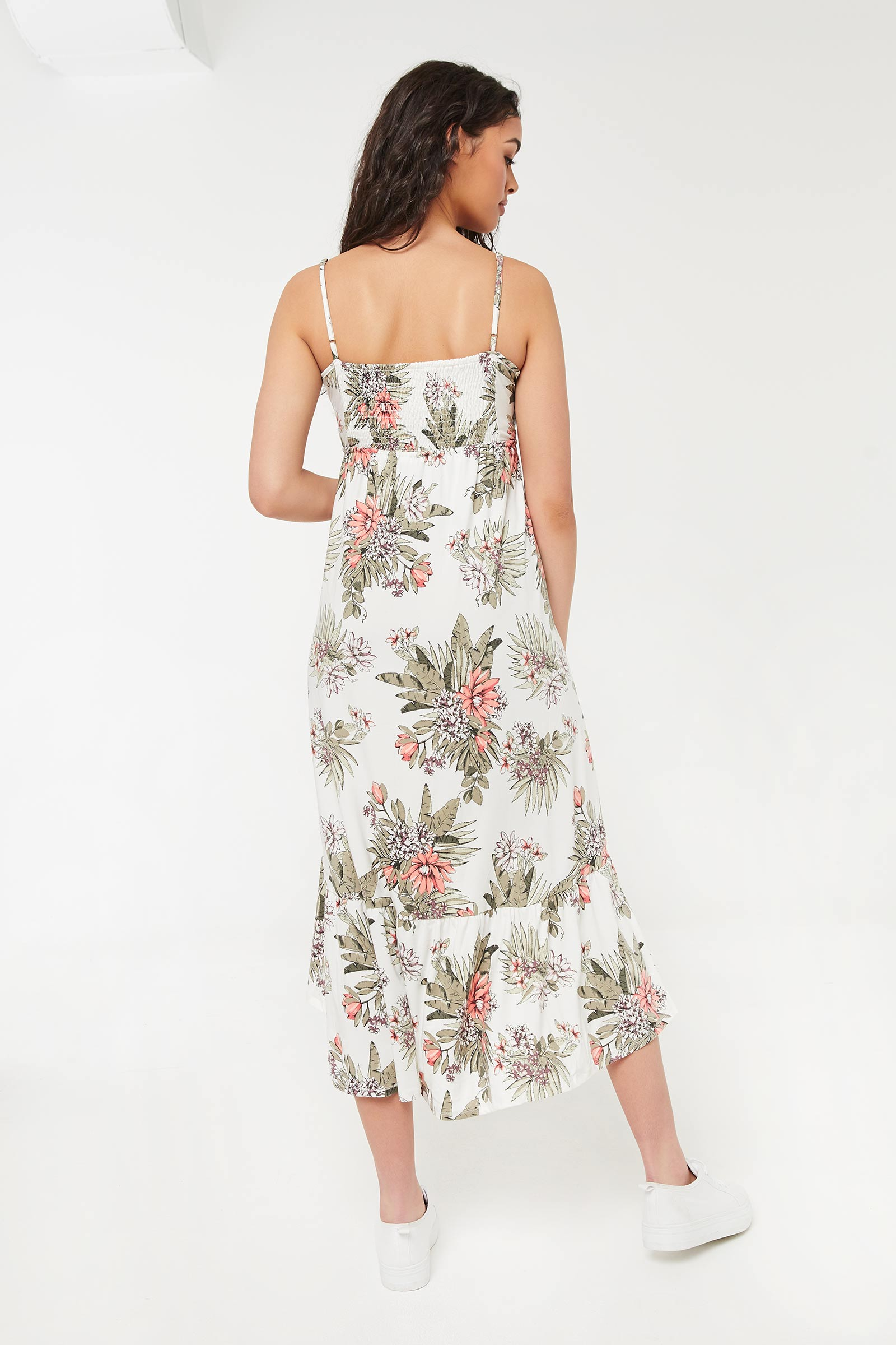 Floral High-Low Empire Midi Dress