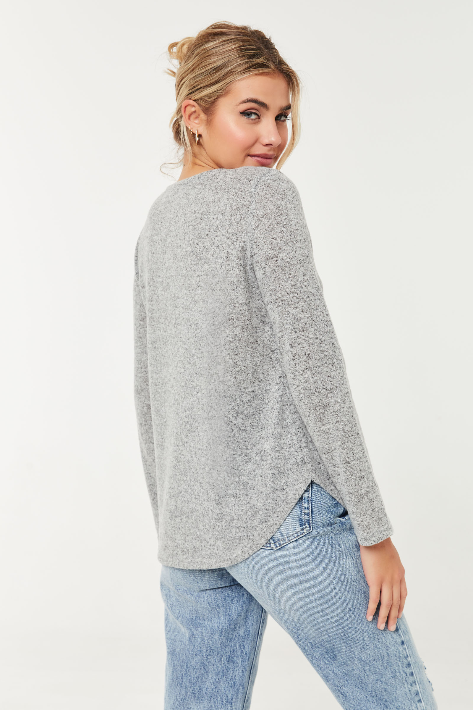 Long Brushed Knit Sweater with Pocket