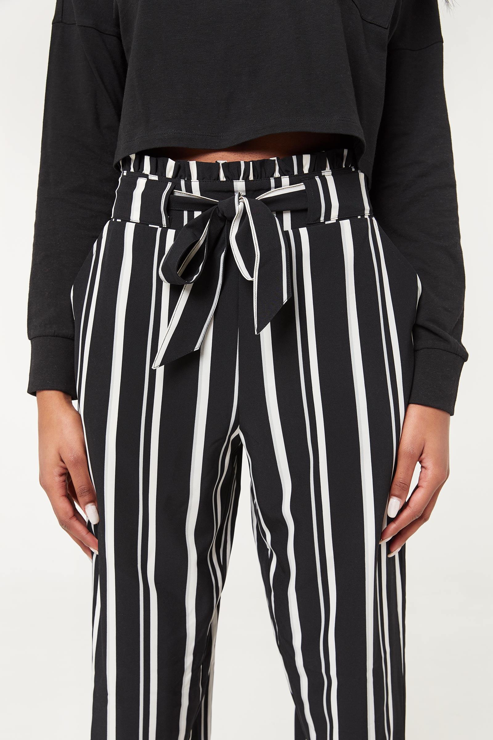 Pantalon rayé à taille plissée