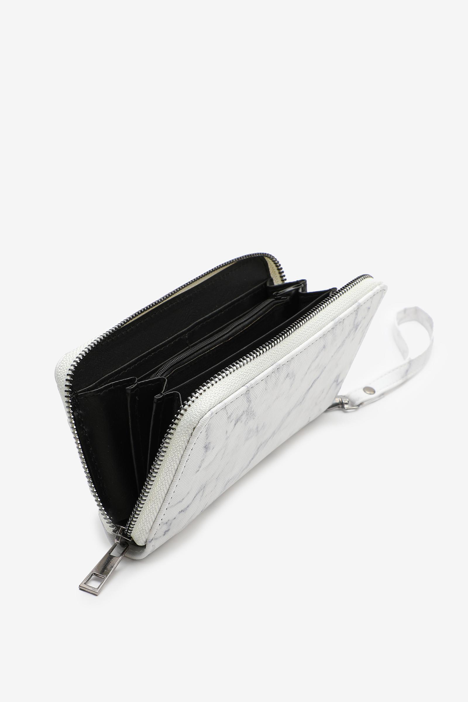 Portefeuille accordéon marbre blanc