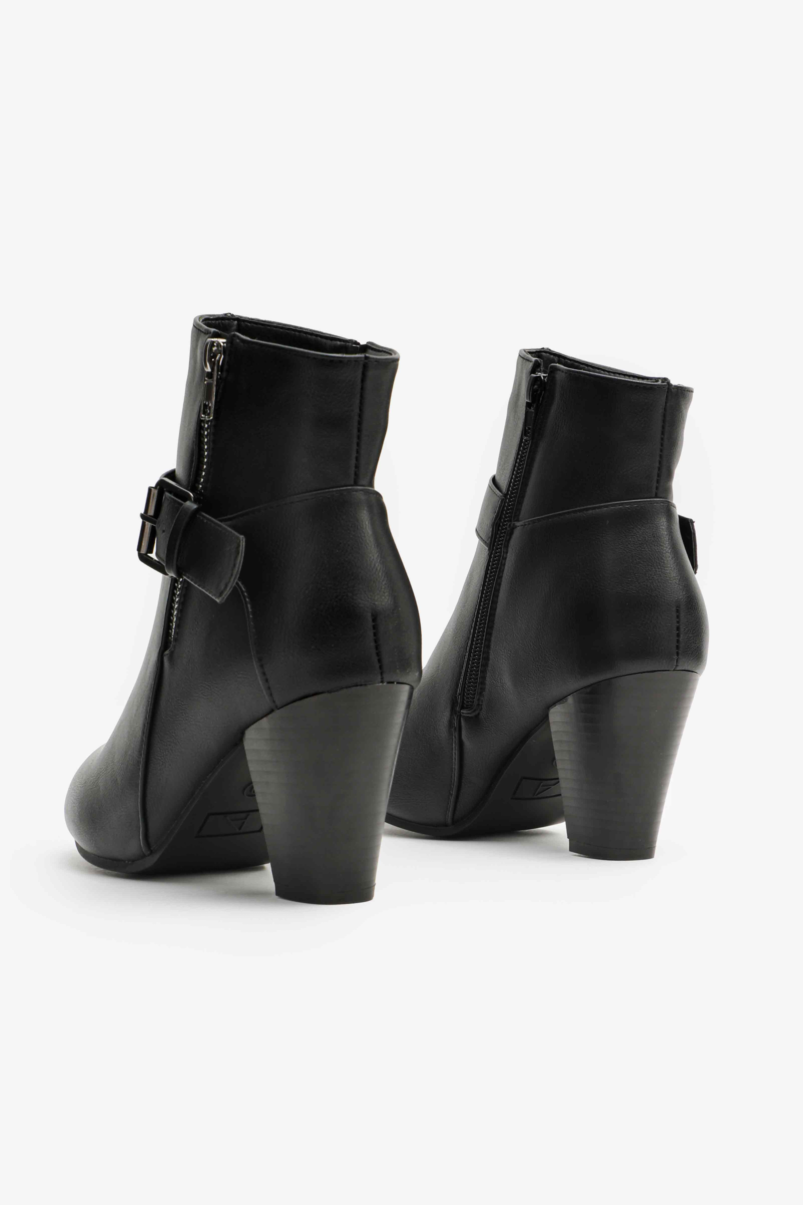 Faux Leather Booties with Buckle