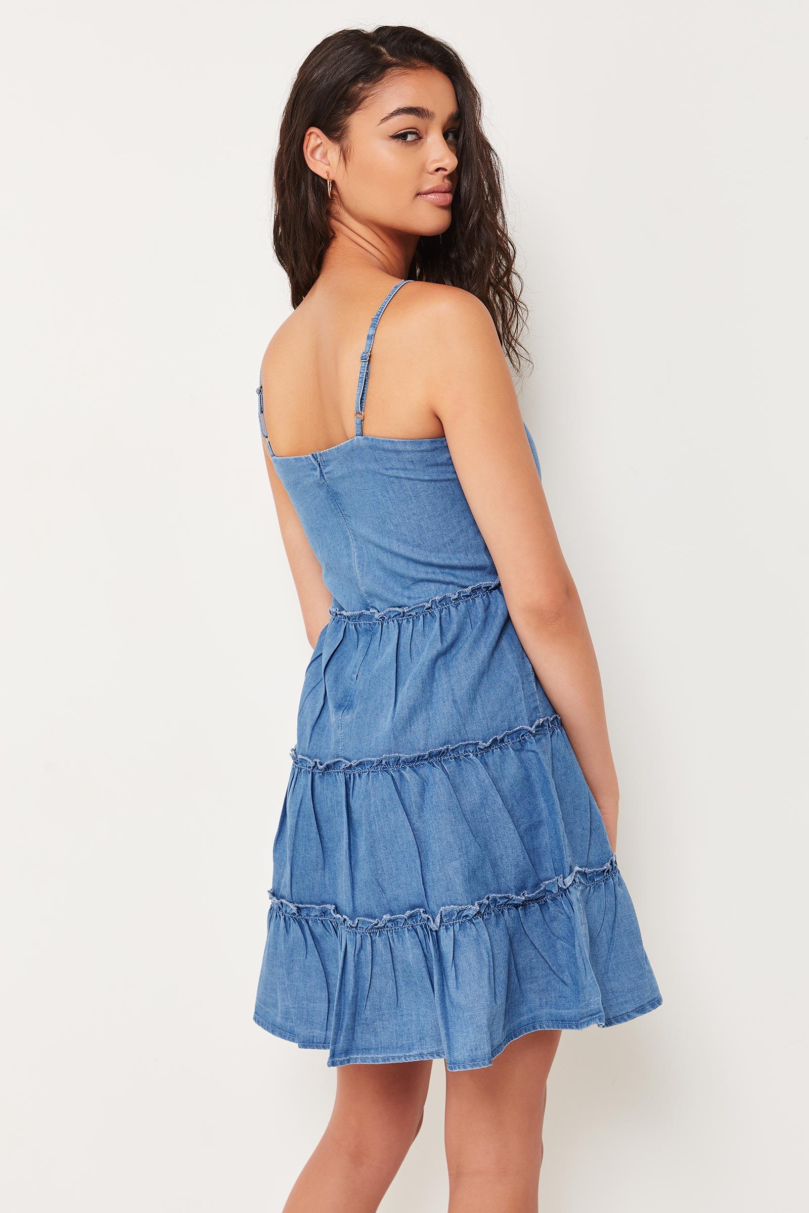 Chambray Tiered Dress