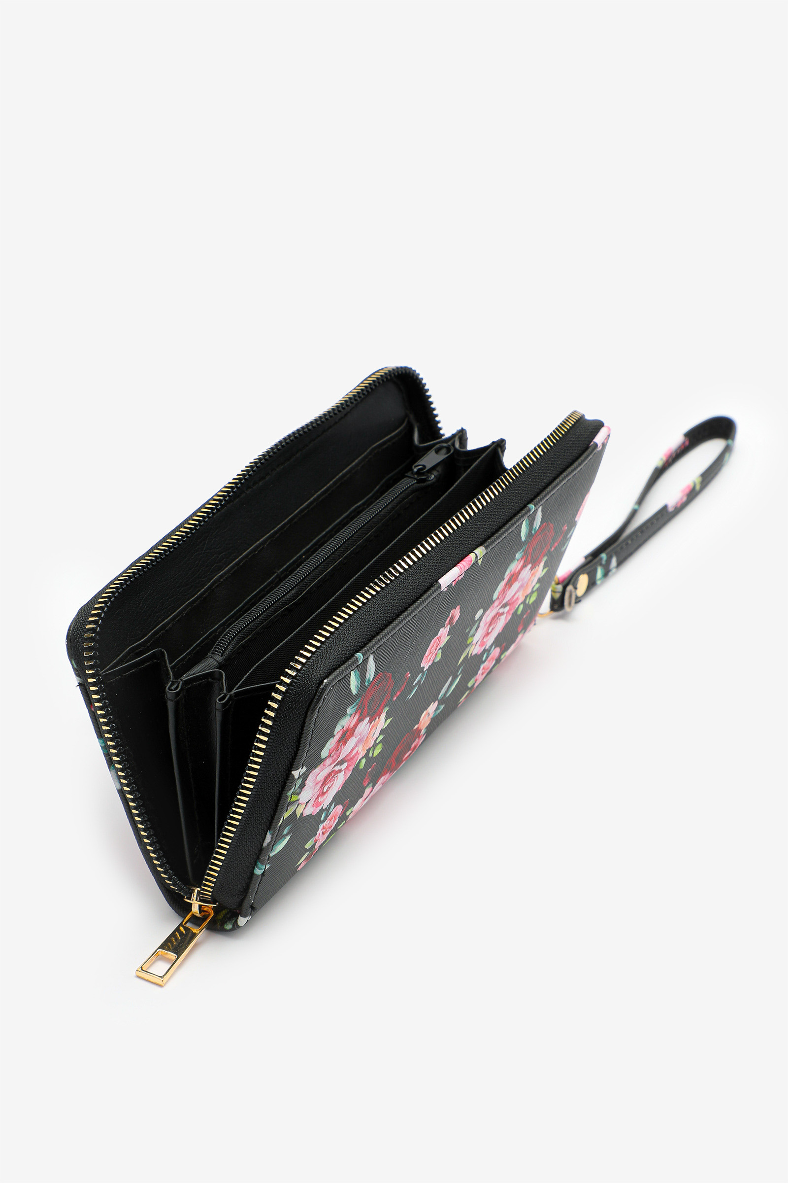 Faux Leather Floral Accordion Wallet