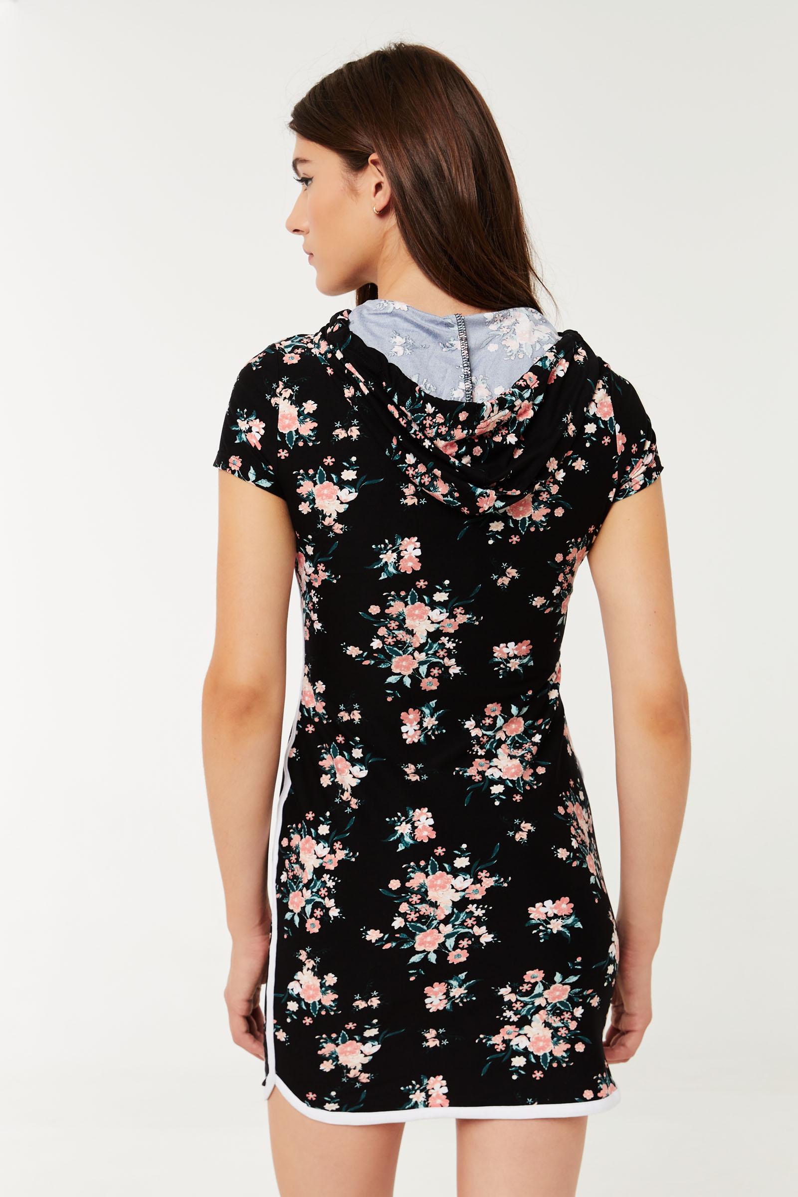 Floral Peekaboo Hoodie Dress