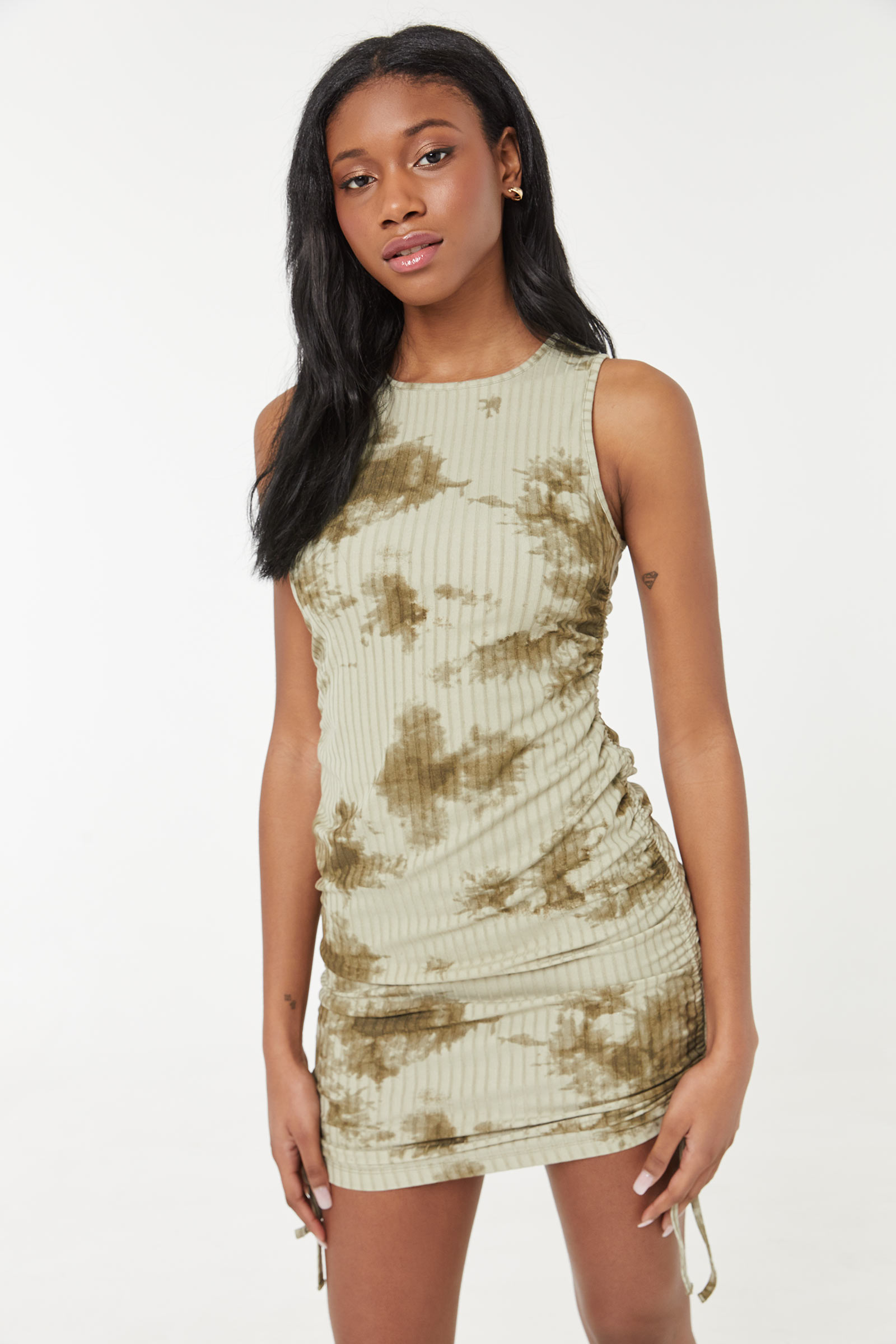 Tie-Dye Ruched Mini Dress