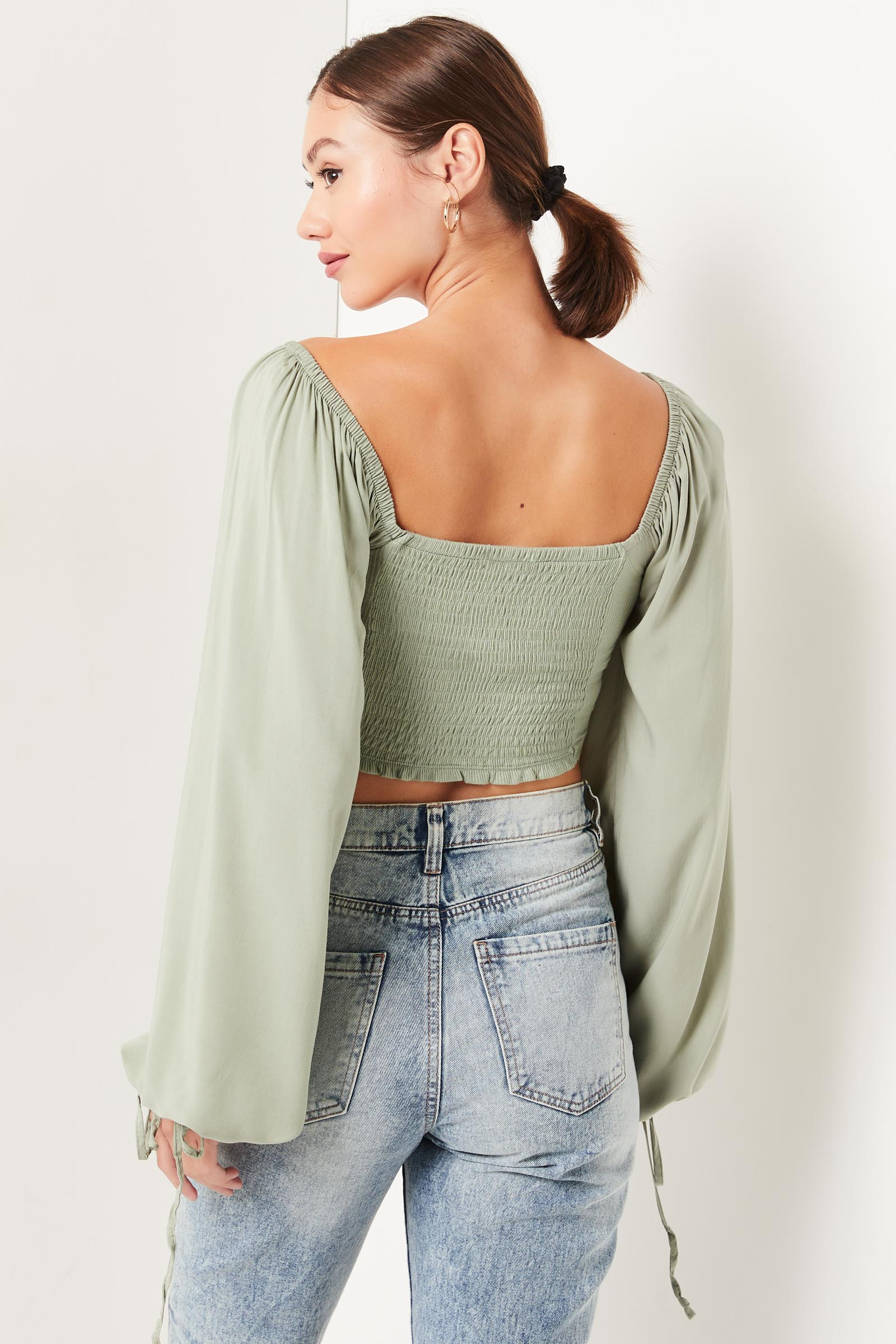 Balloon Sleeve Blouse with Lace-Up Back