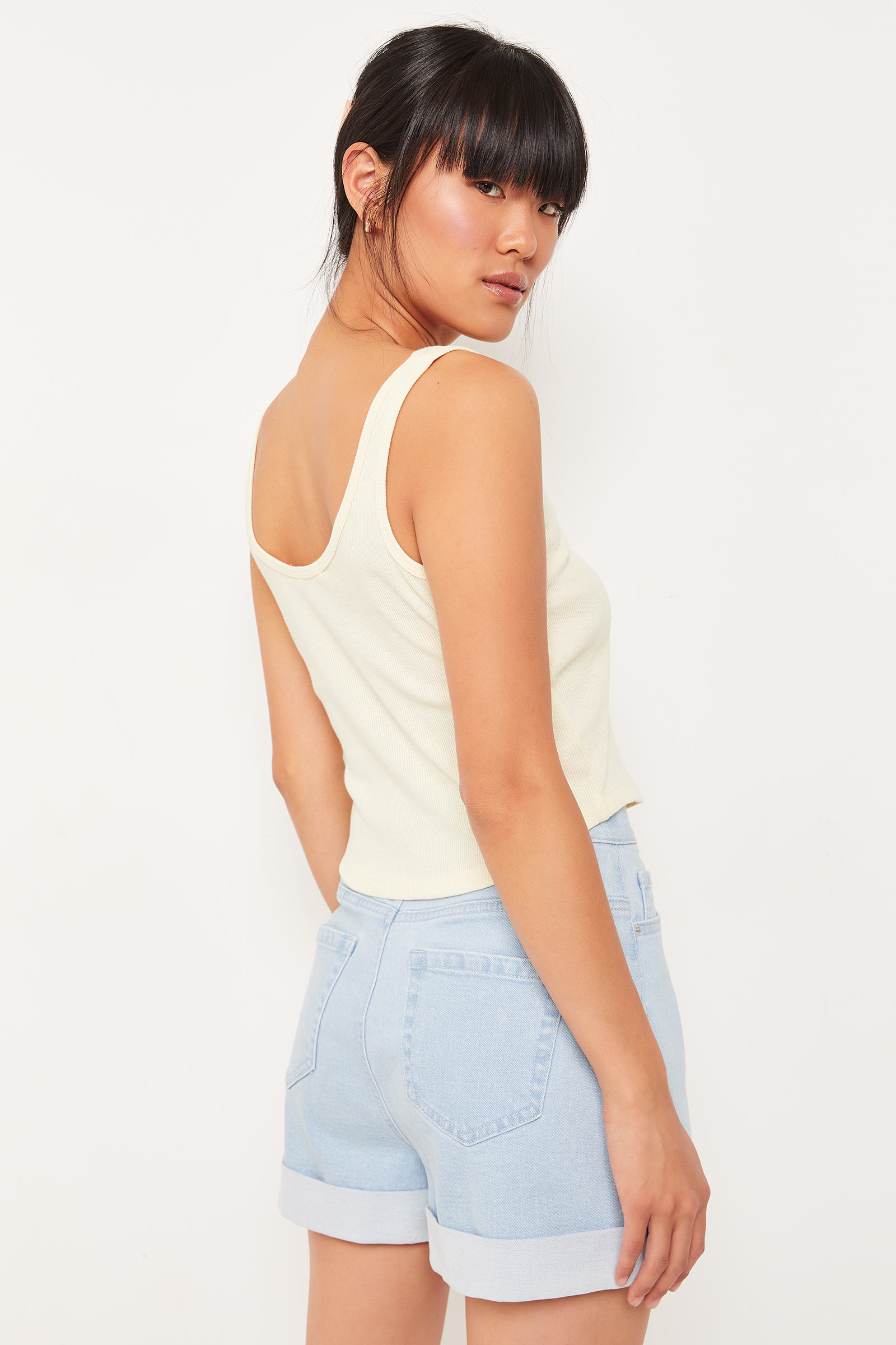 Front-Slit Ribbed Tank Top
