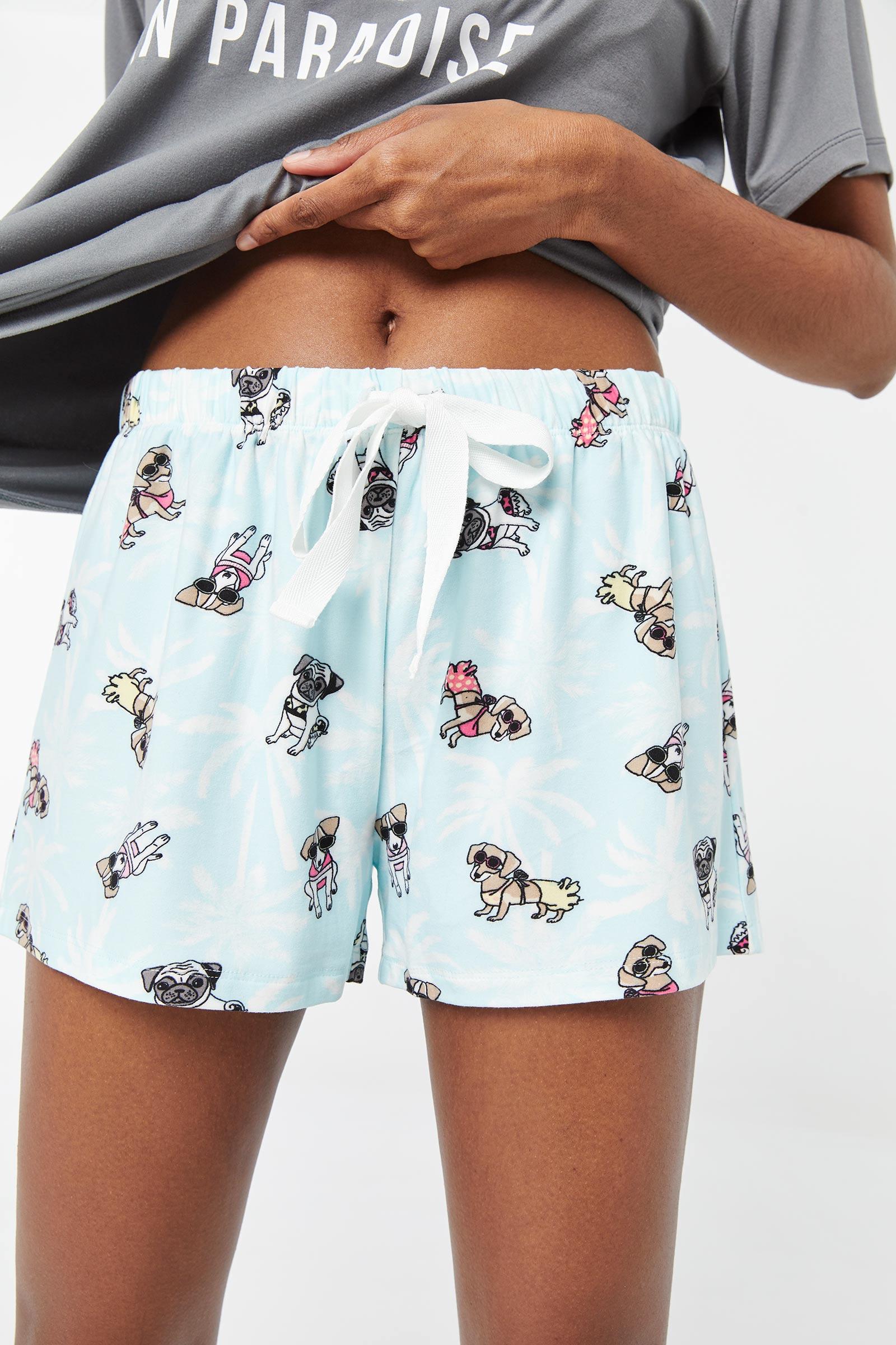Short de pyjama avec chiens en bikini