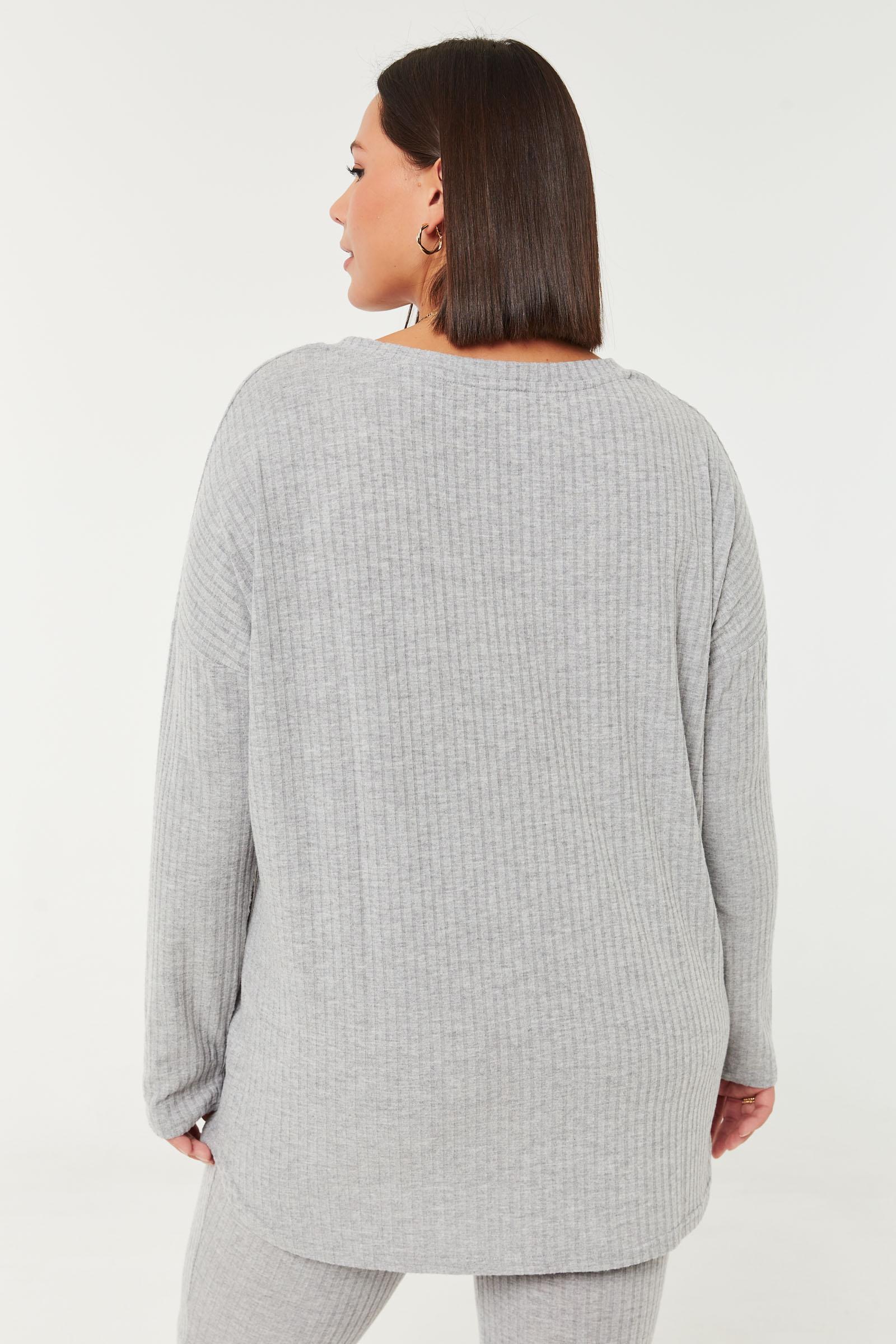 Brushed Rib V-Neck Sweater