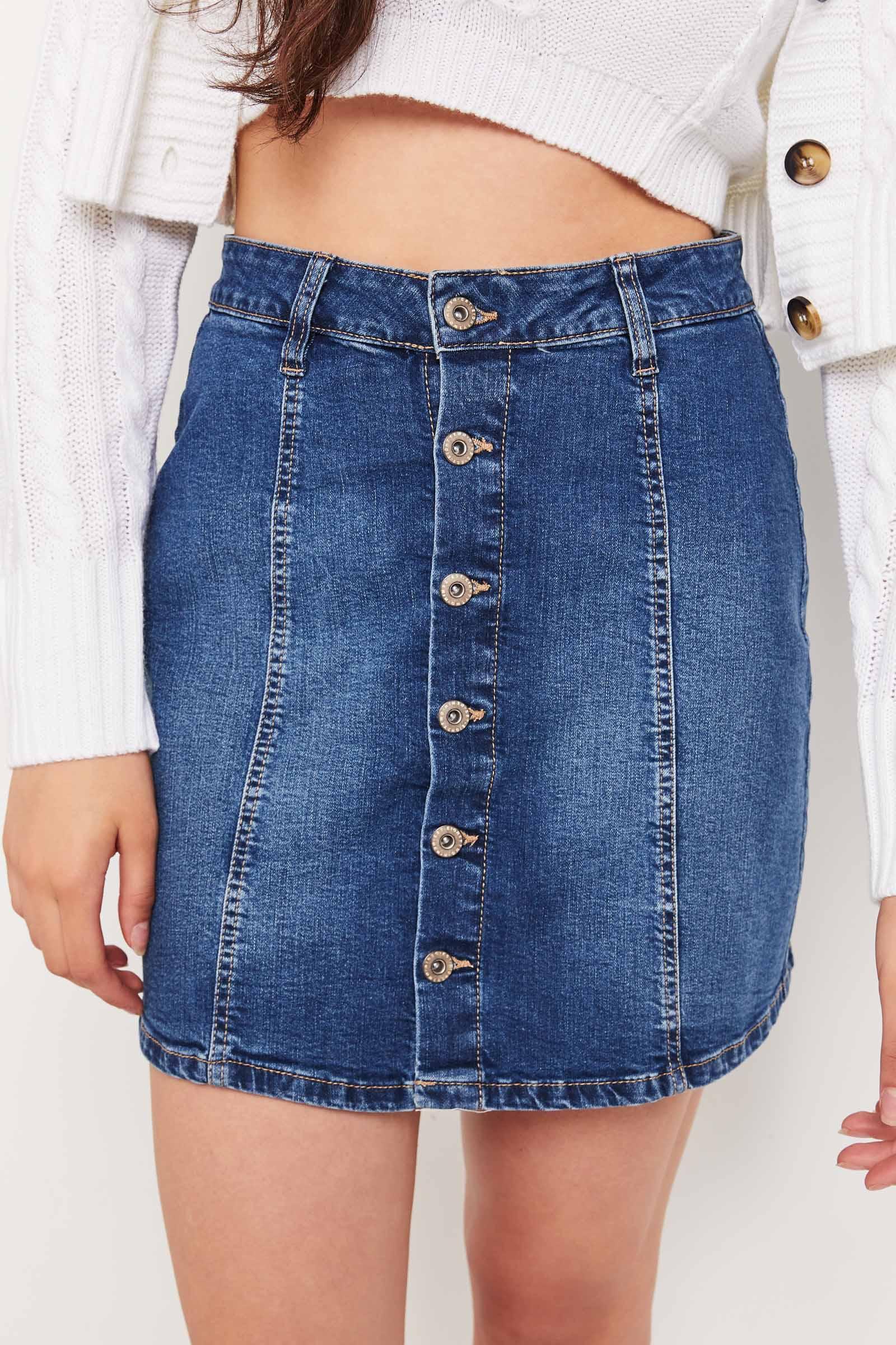 High Rise Jean Buttoned Skirt
