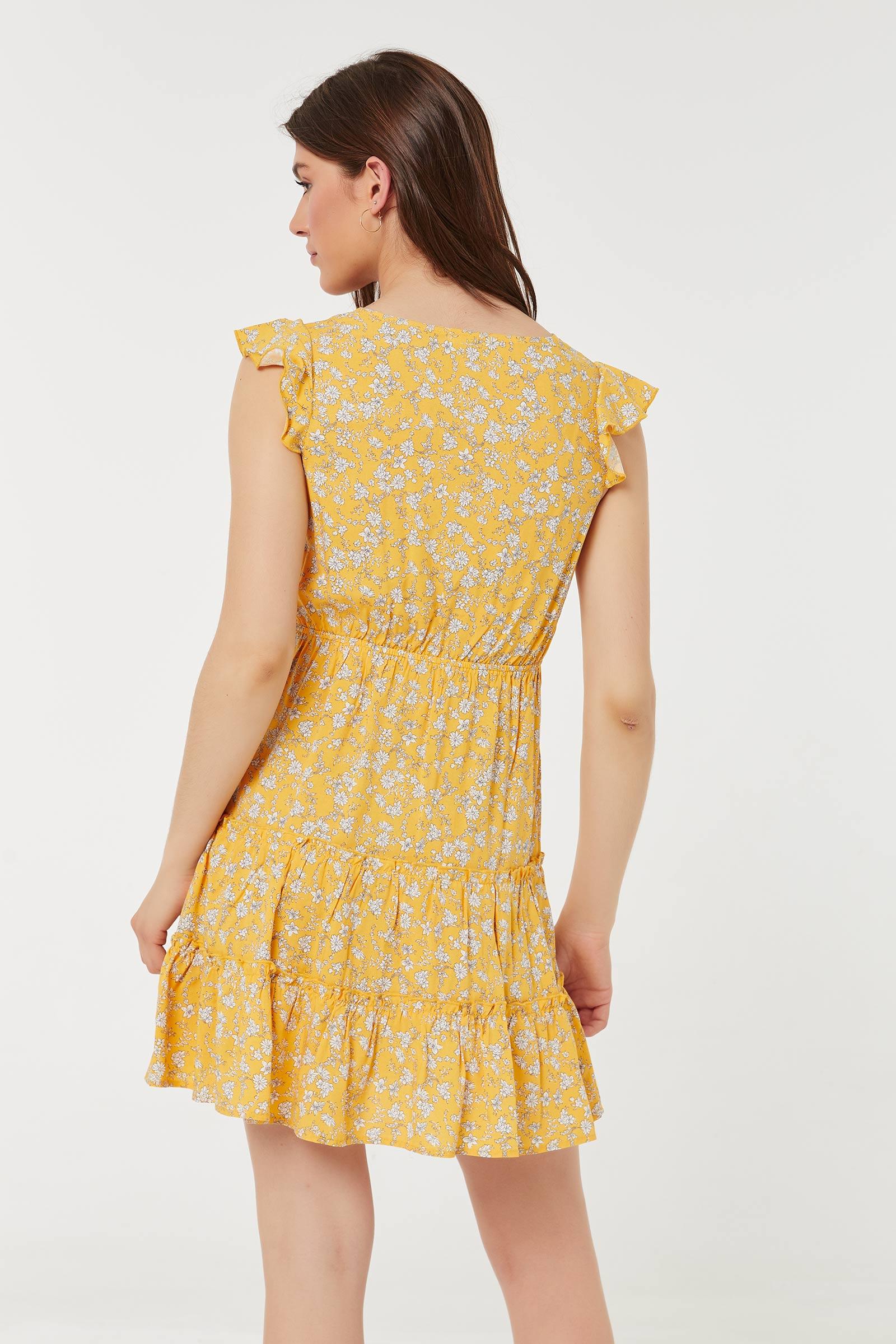 Flounced Button Mini Dress