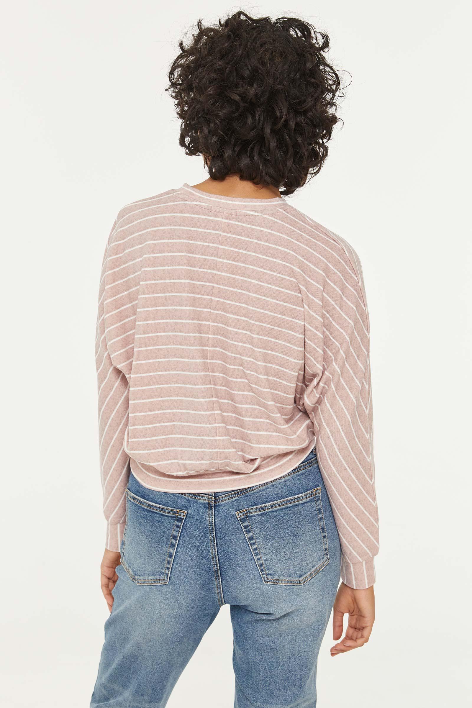 Brushed Striped Dolman Sweater