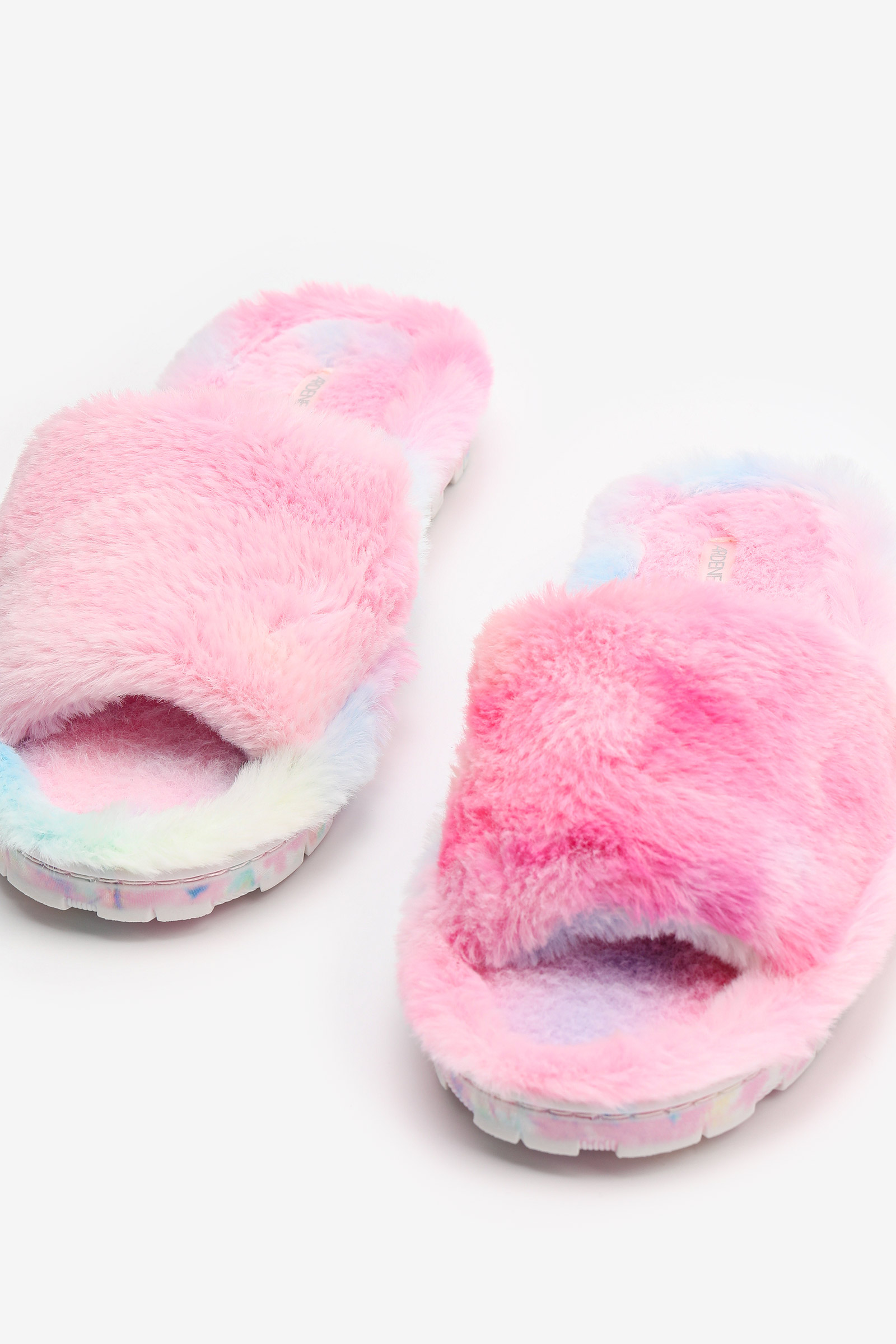 Rainbow Faux Fur Slide Slippers