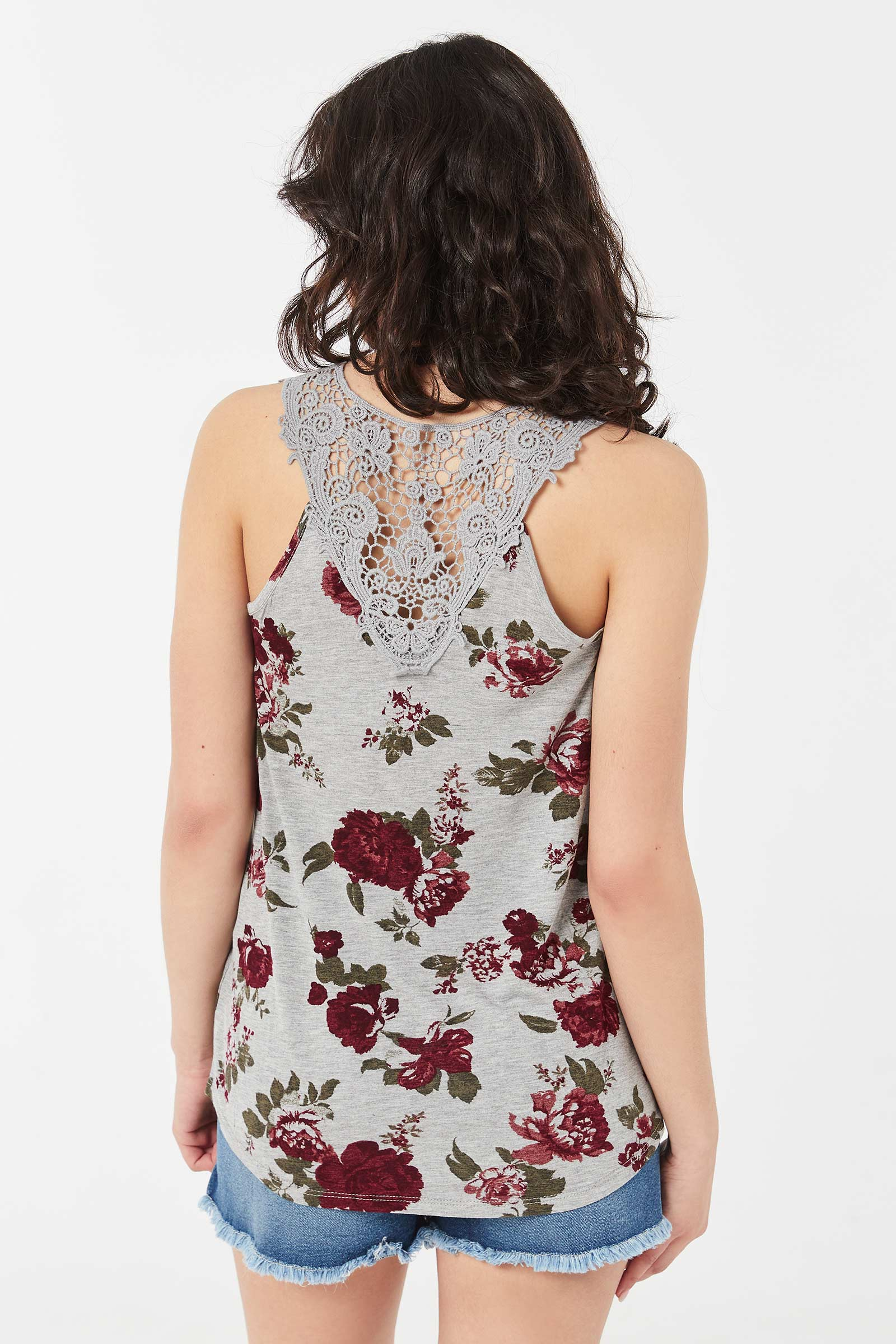 Long Floral Tank with Crochet Back