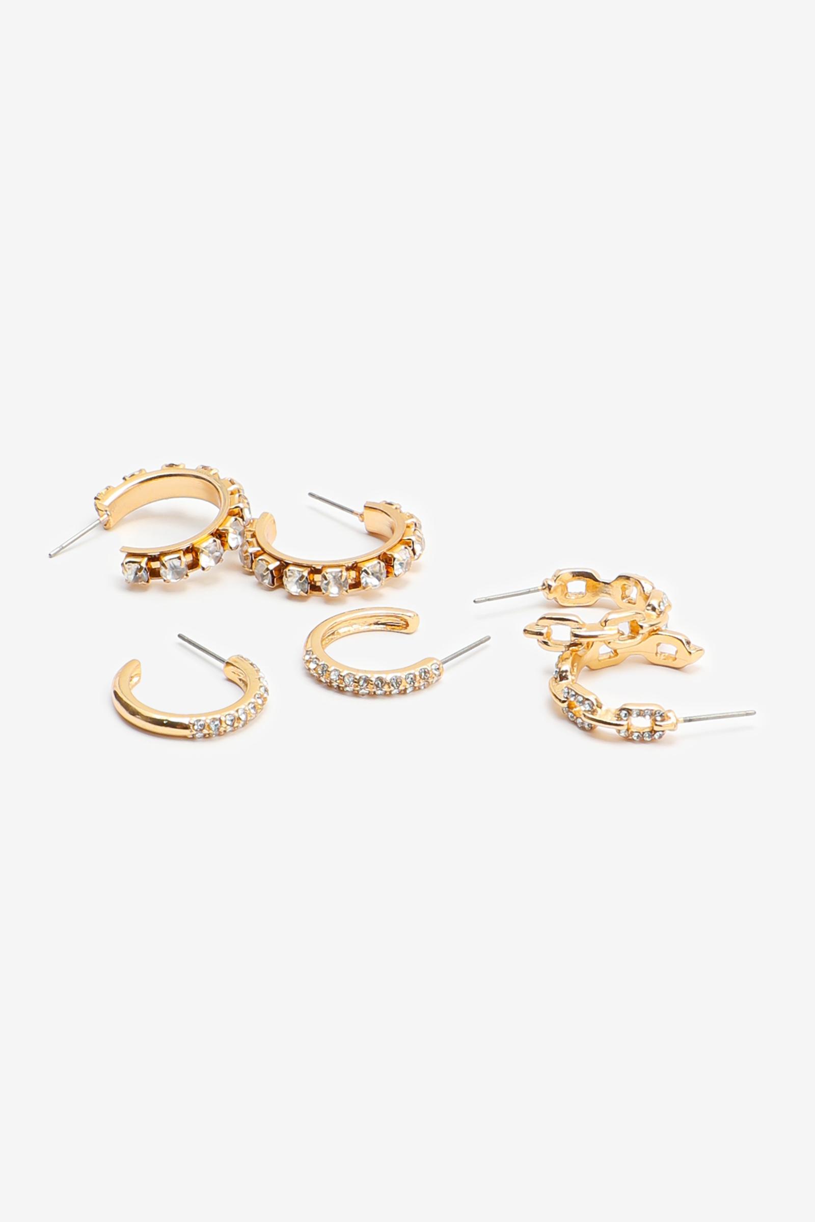 Pack of Hoop Earrings with Stones
