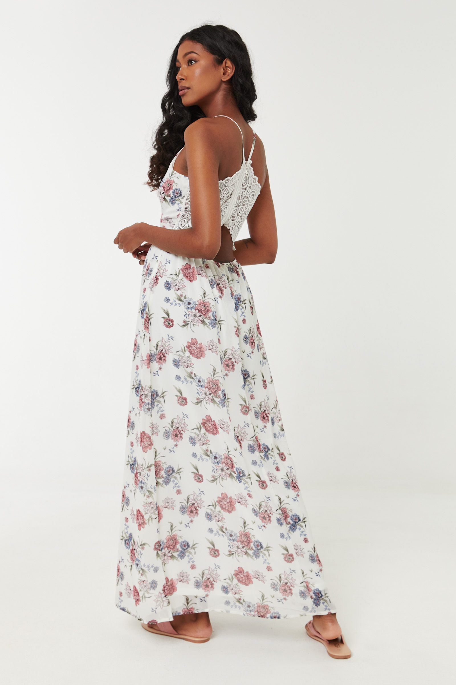 Floral Maxi Dress with Lace Back