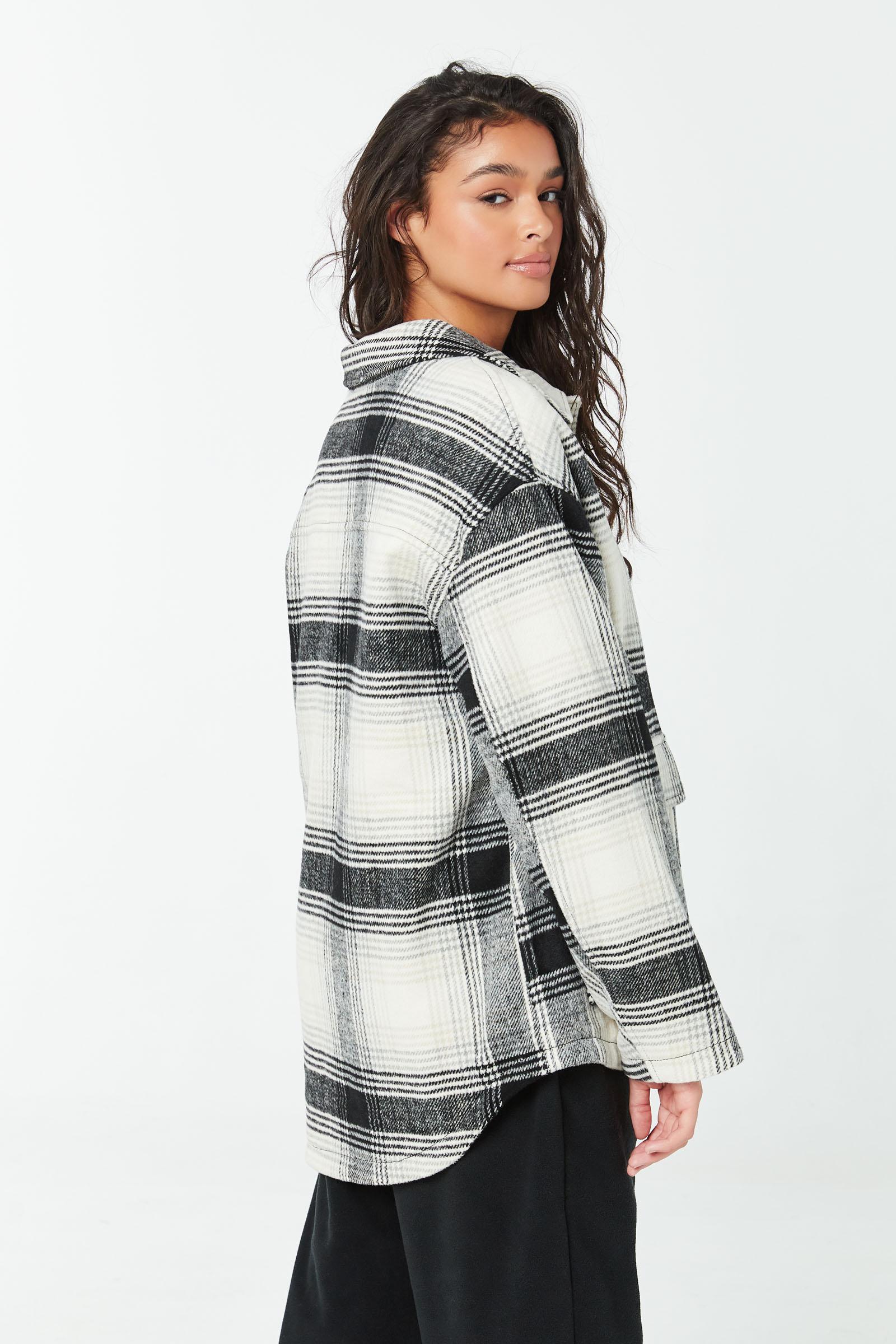 Veste-chemise à carreaux doublée en sherpa