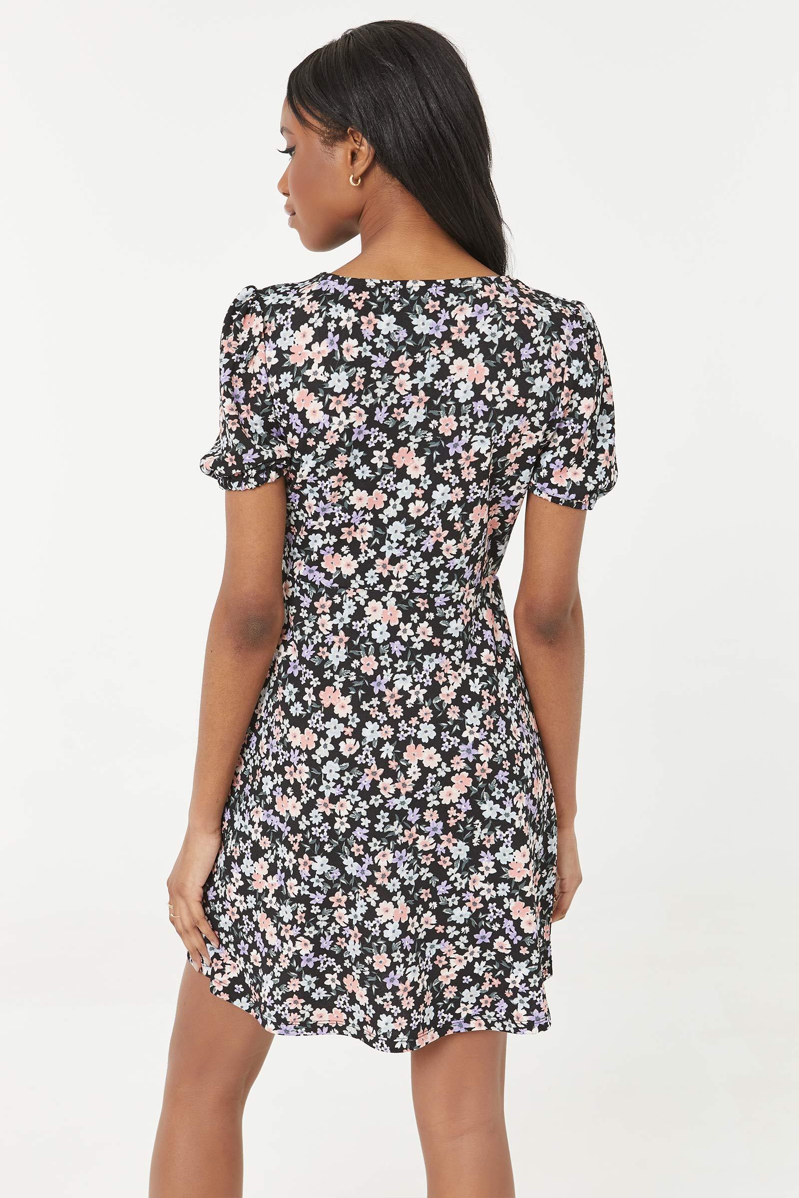 Mini Crepe Floral Dress