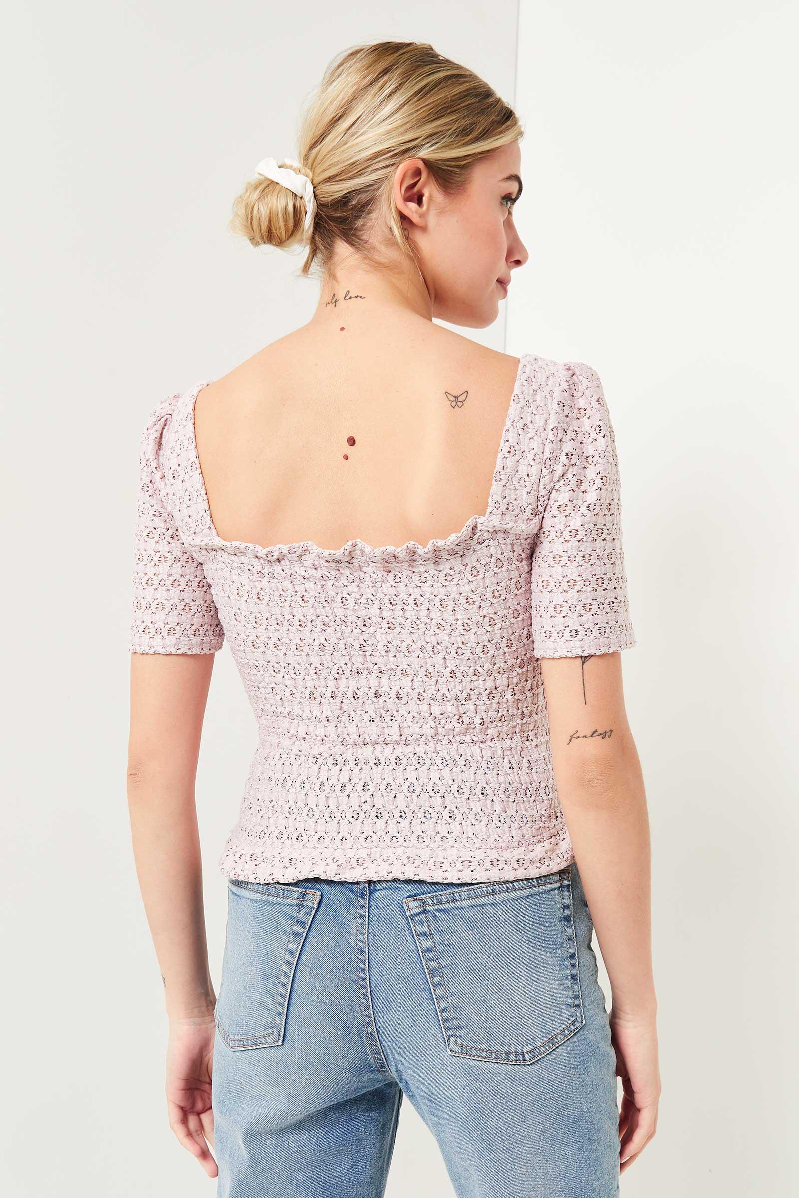 Crochet Crop Top with Balloon Sleeve