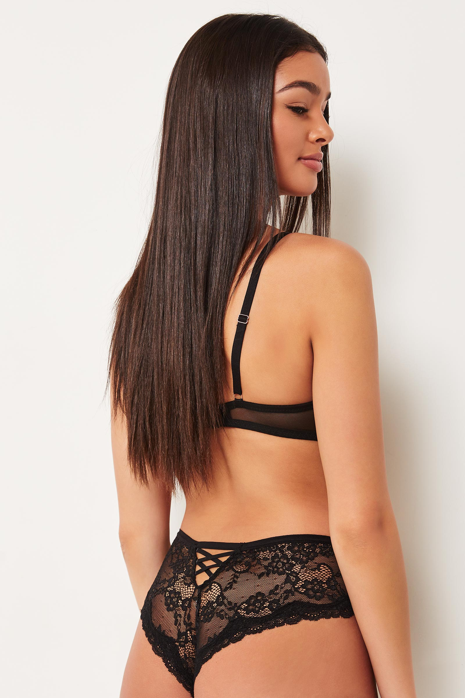 Lace & Mesh Cheeky Panty with Crisscross Back