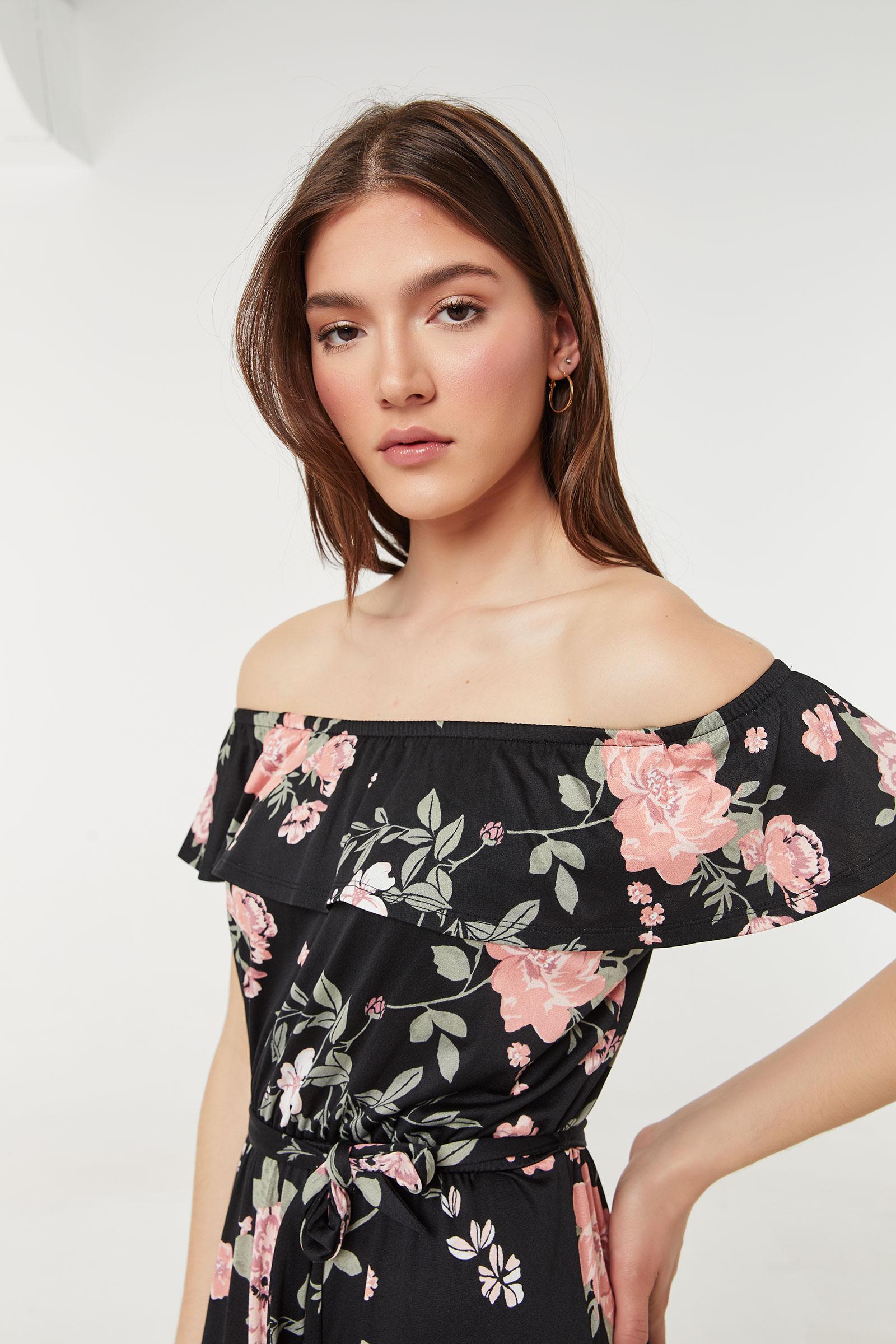 Floral Off-Shoulder Maxi Dress