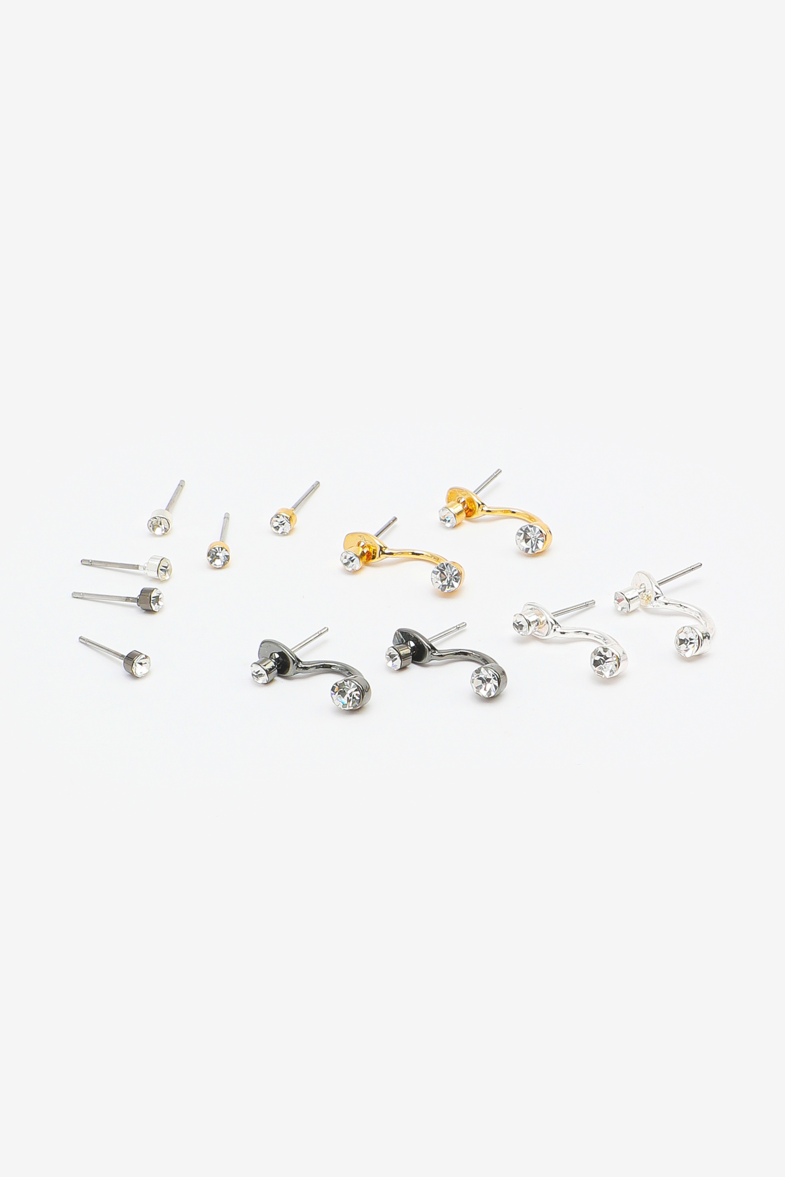 Pack of Crystal Stud & Jacket Earrings