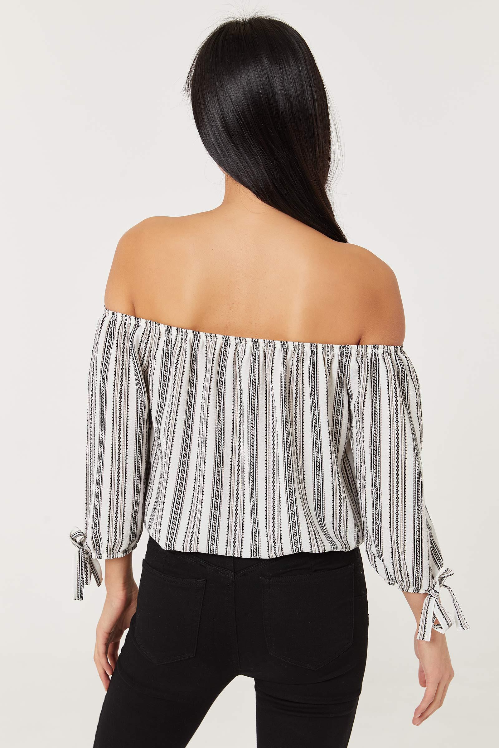 Striped Off Shoulder Crepe Top