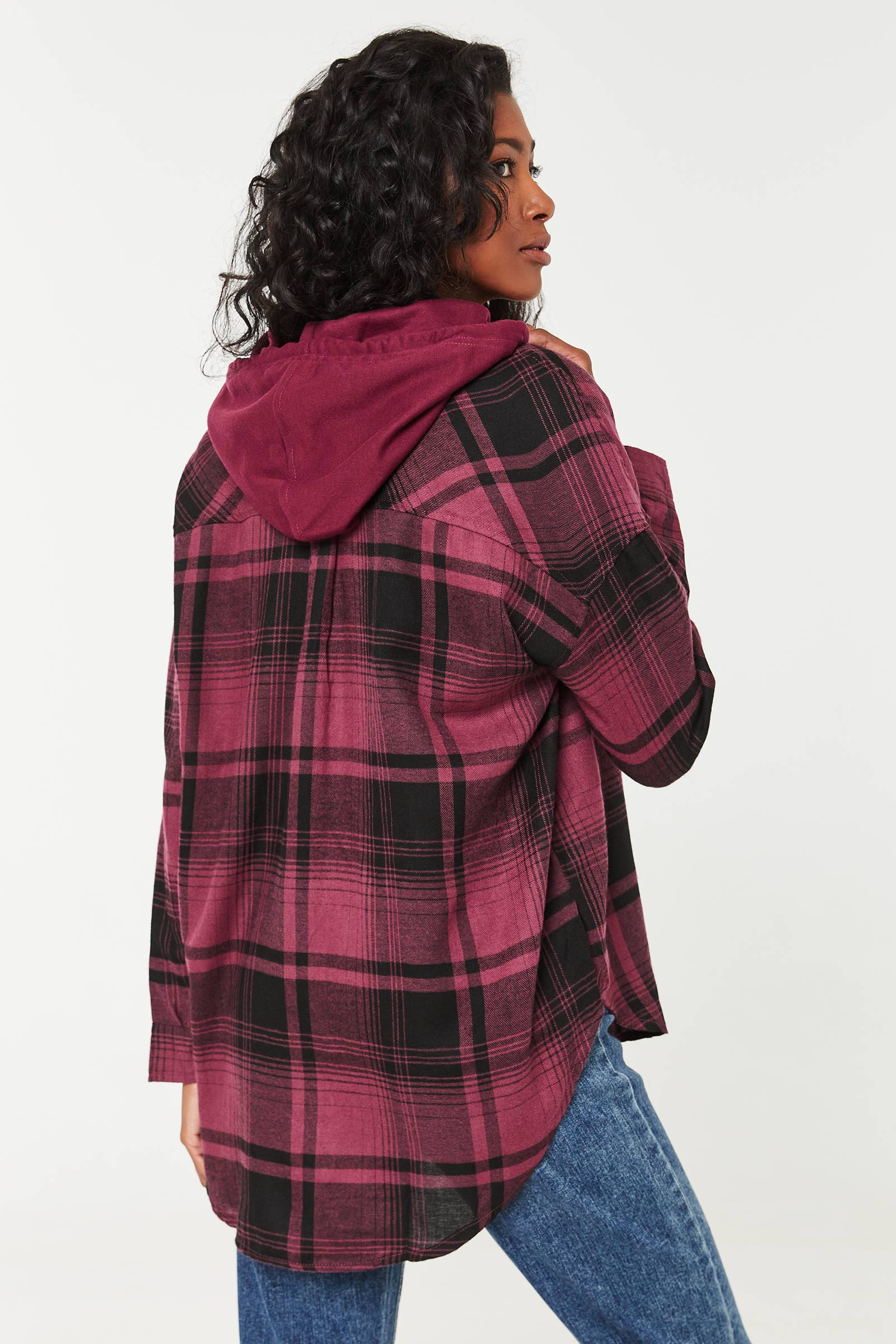 Plaid Oversized Flannel Shirt with Hood