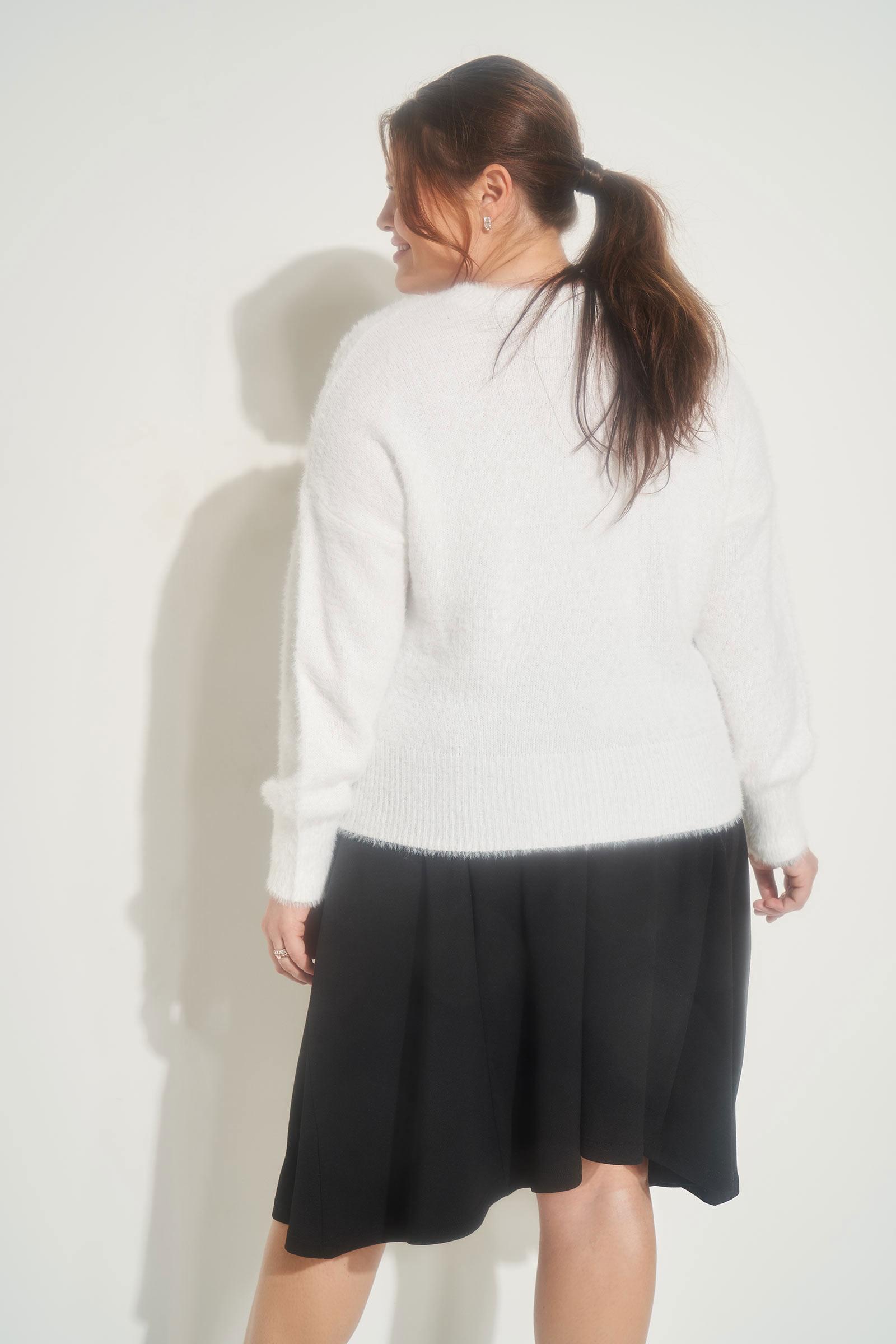 Plus Size Fuzzy Puff Sleeve Sweater