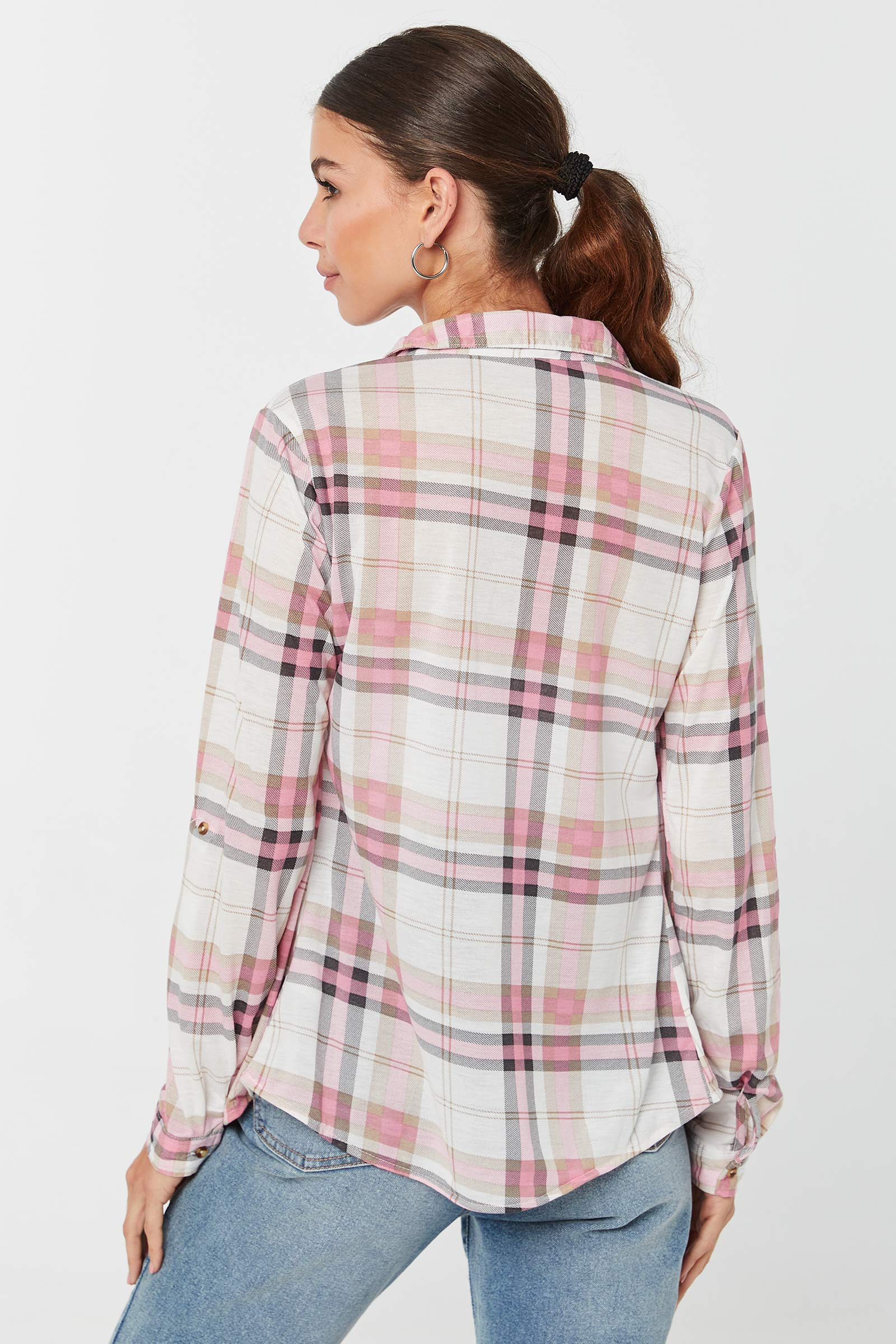 Plaid Shirt with Roll-Up Tabs