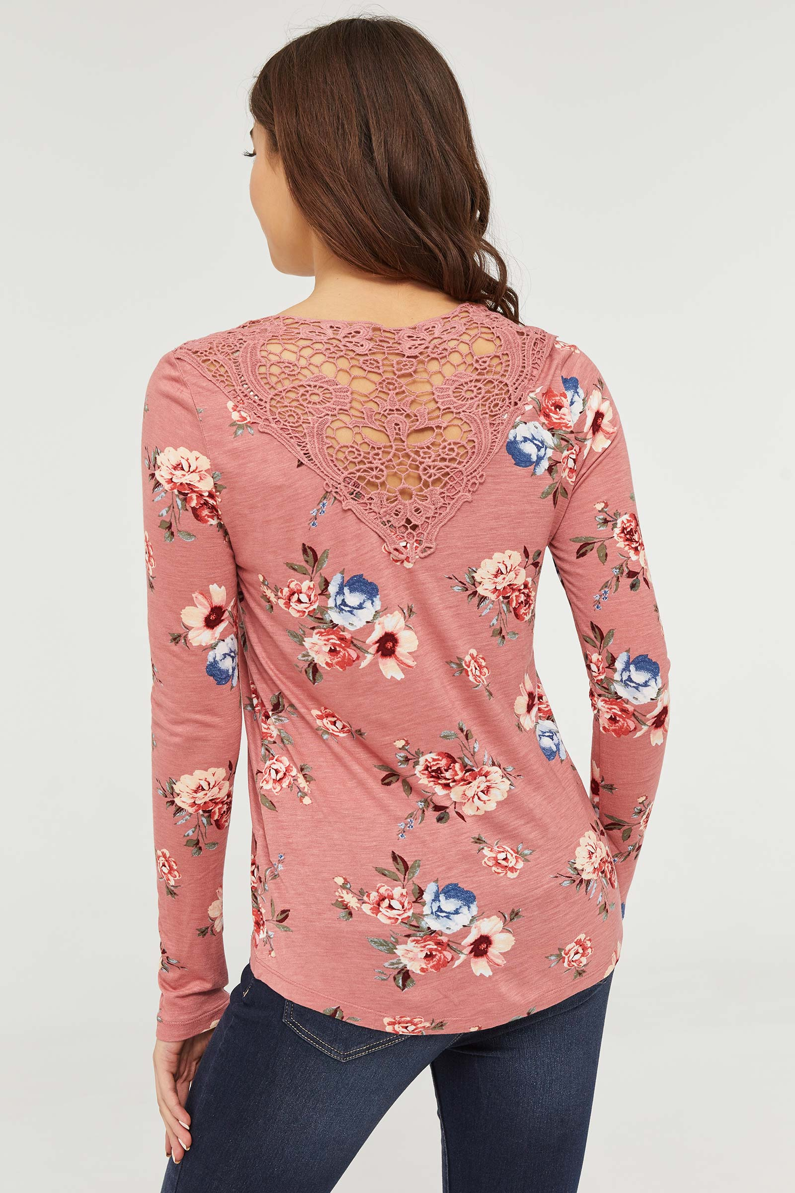 Floral Tee with Crochet