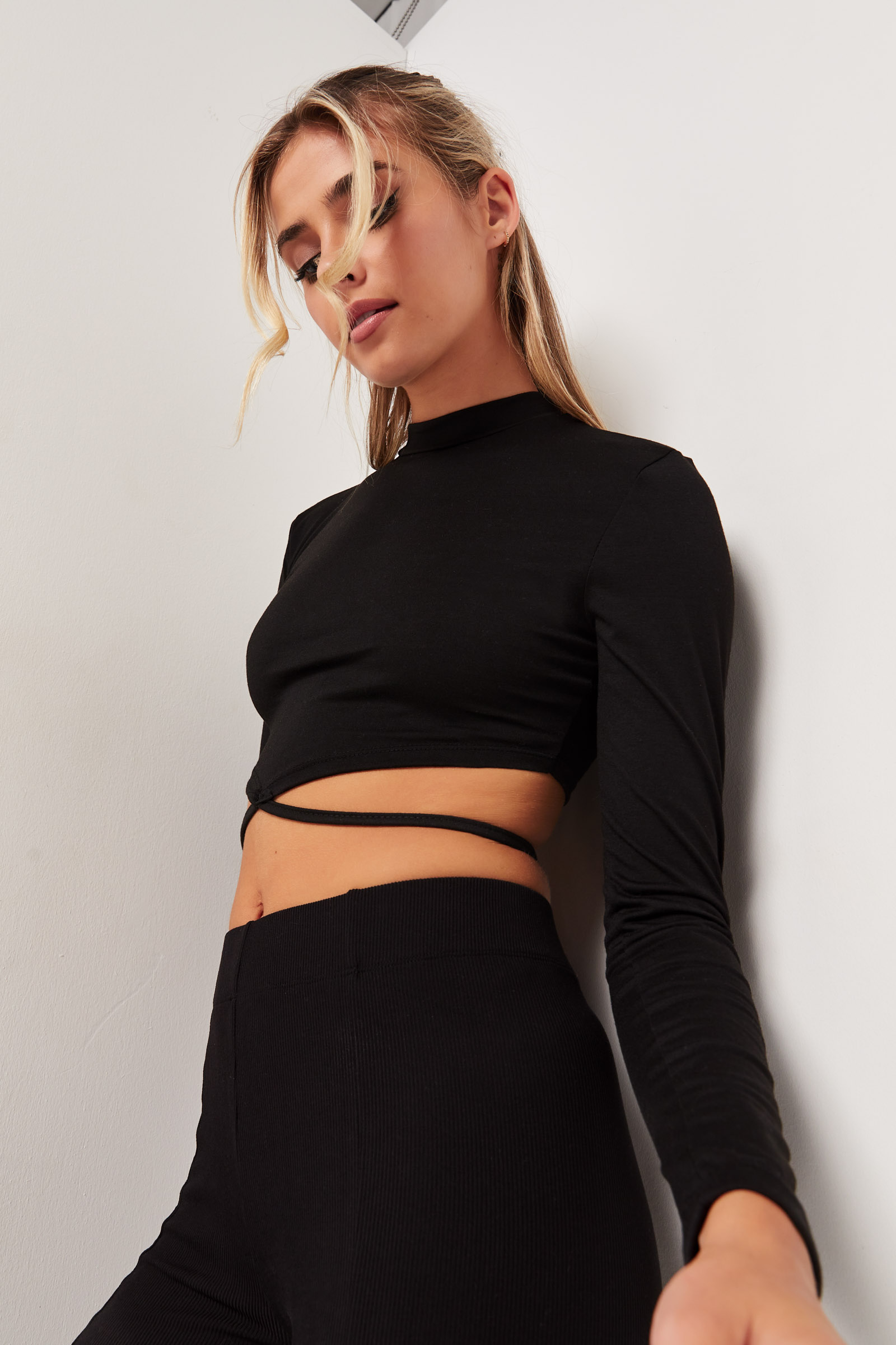 Cropped Top with Lace Strap Detail